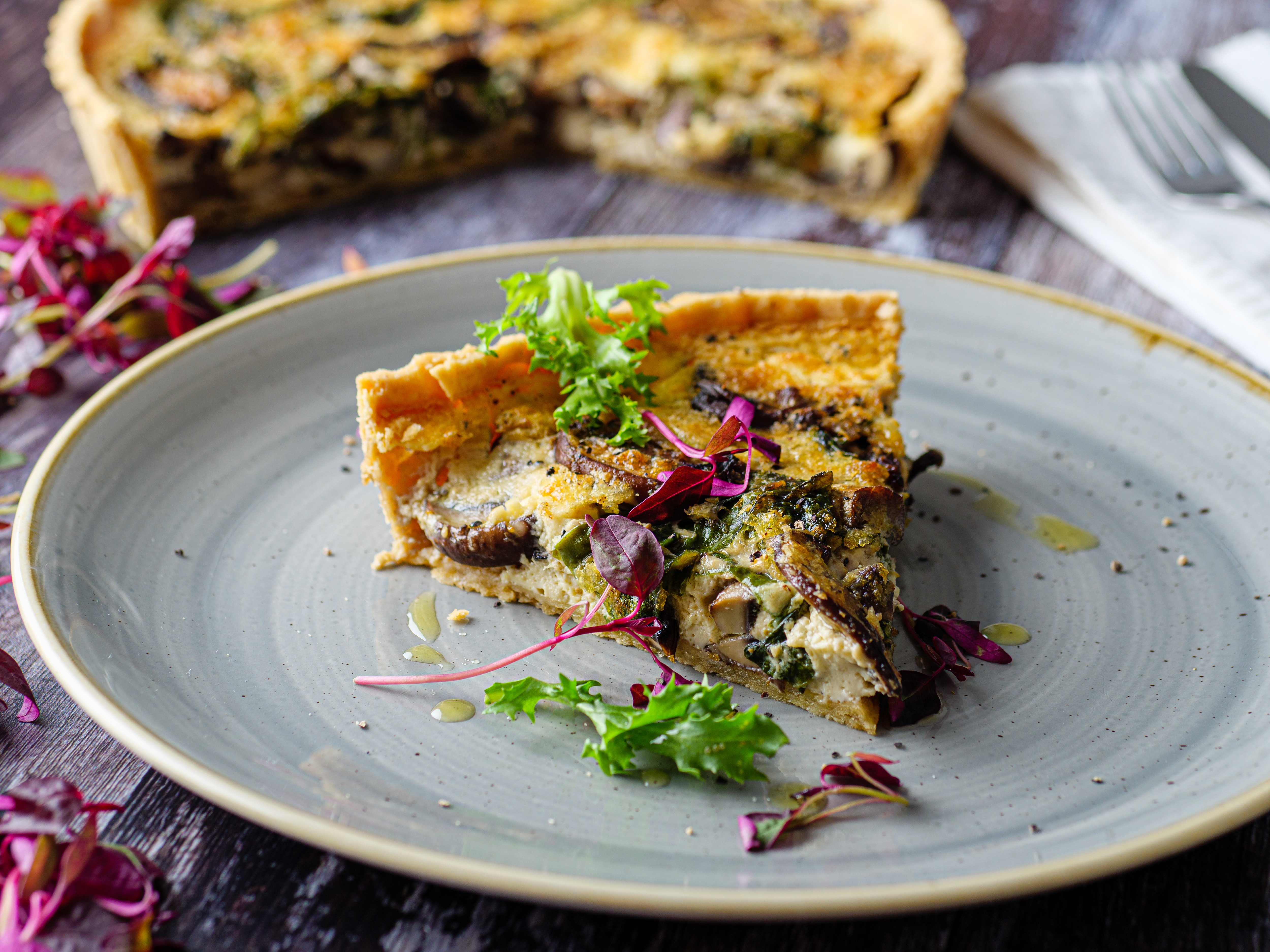 Garlic And Mushroom Quiche