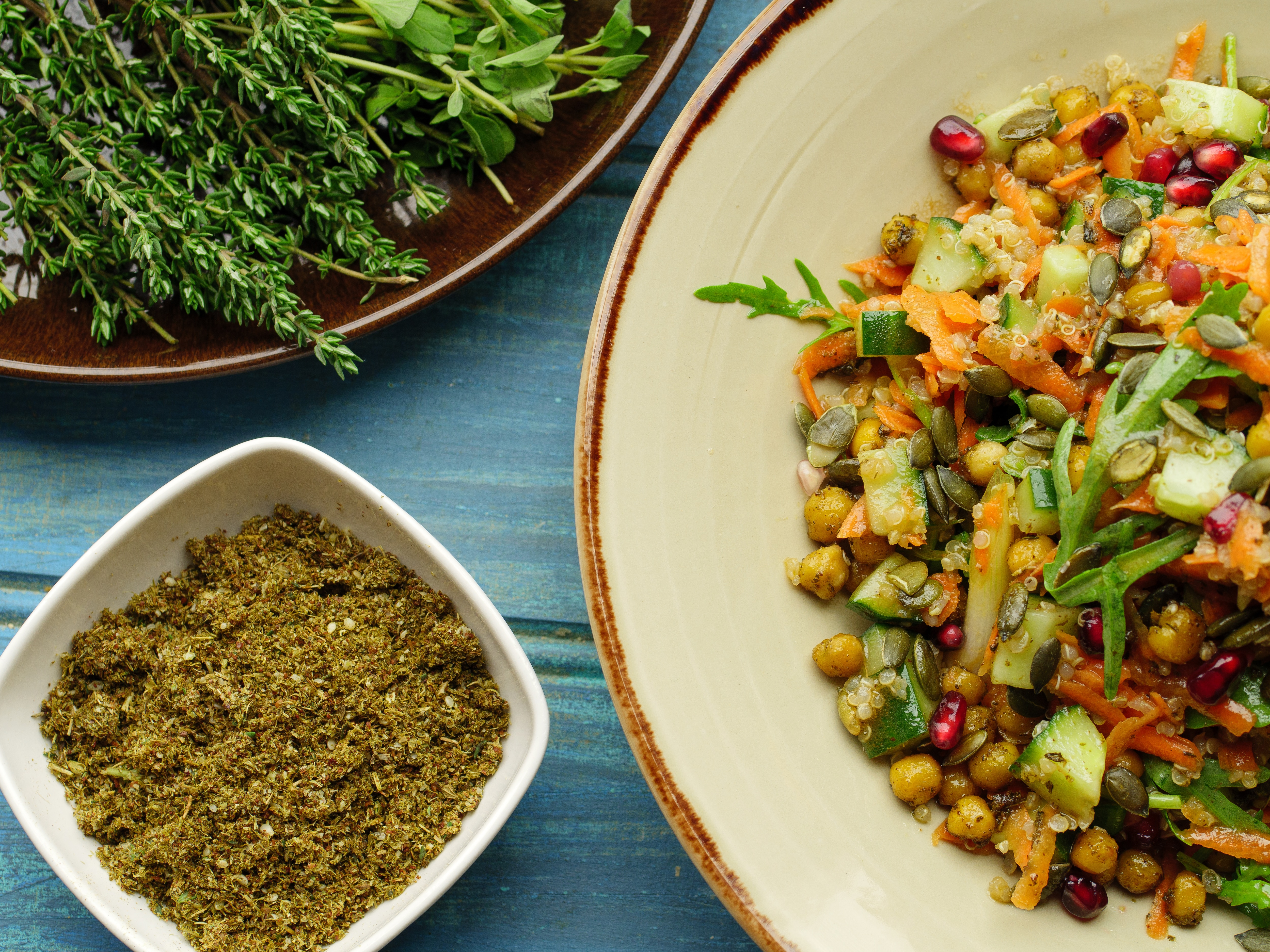 Za'atar Roasted Chickpea Salad With Pomegranate Dressing