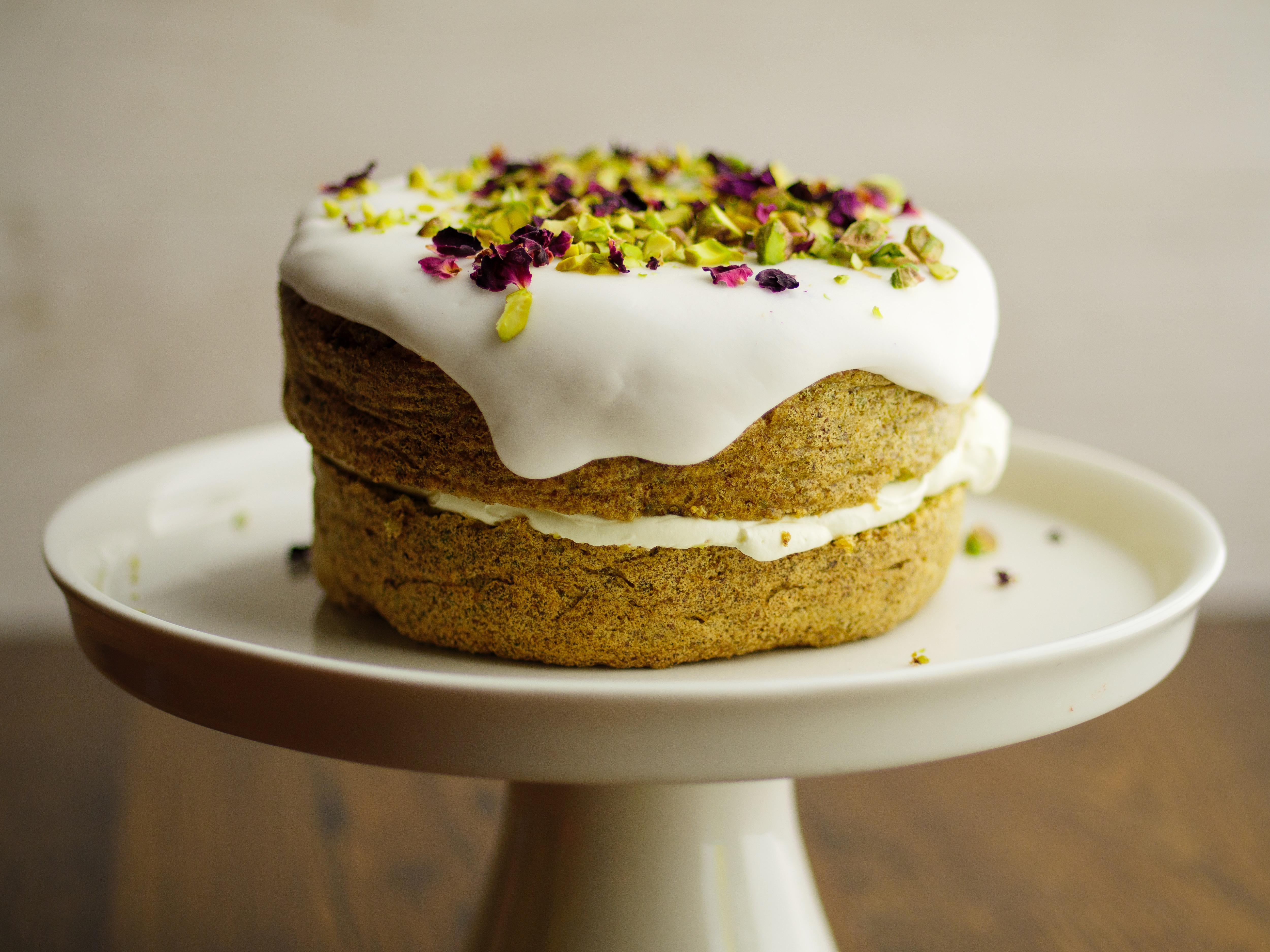 Pistachio Cake With Rose Water Icing