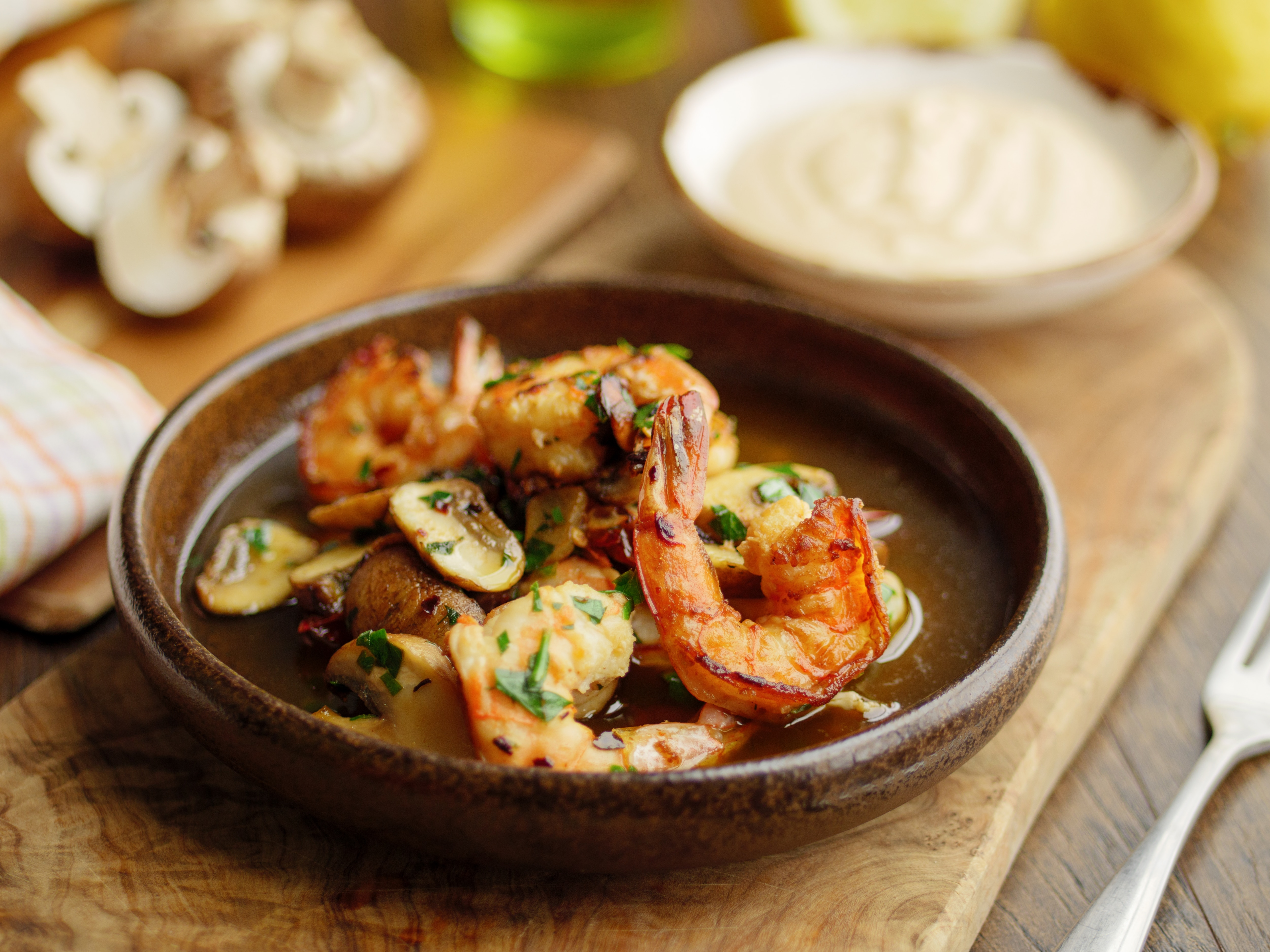 King Prawns with Mushrooms, Chilli and Anchovy