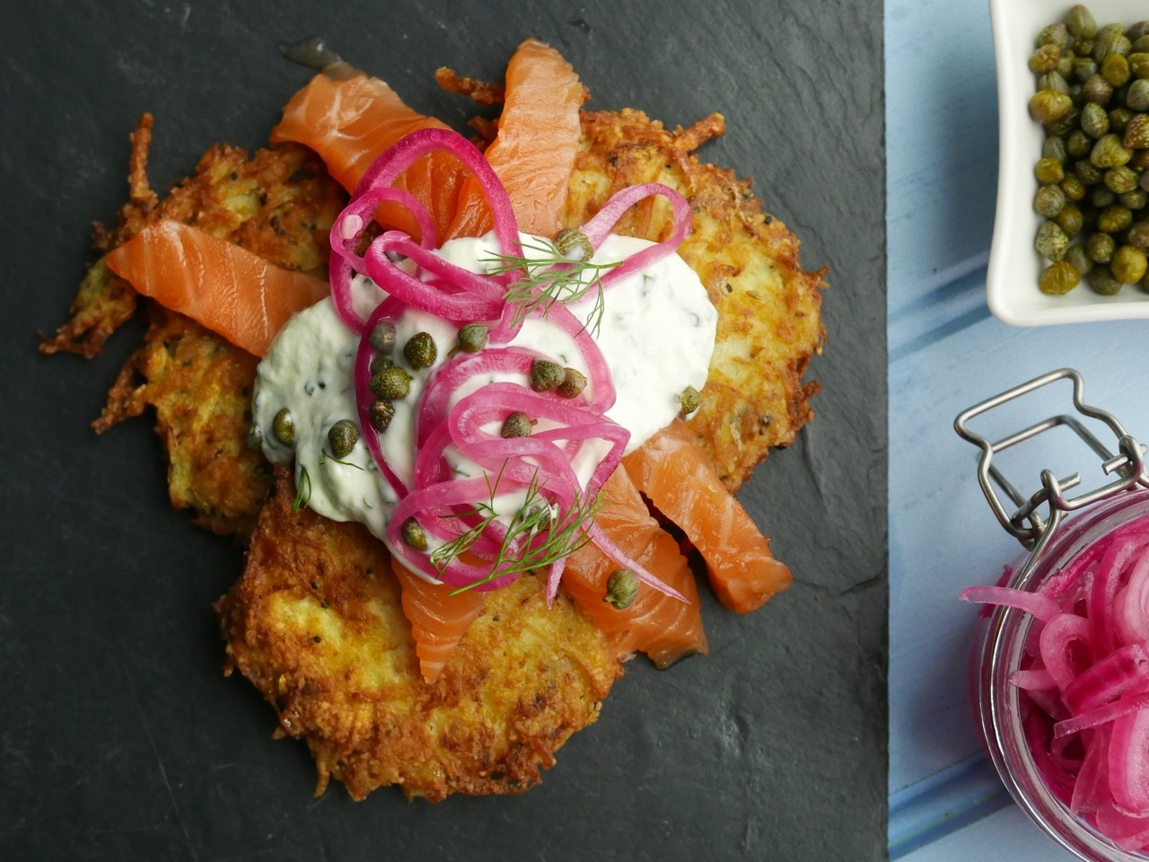 Lox with Fennel and Potato Latkes