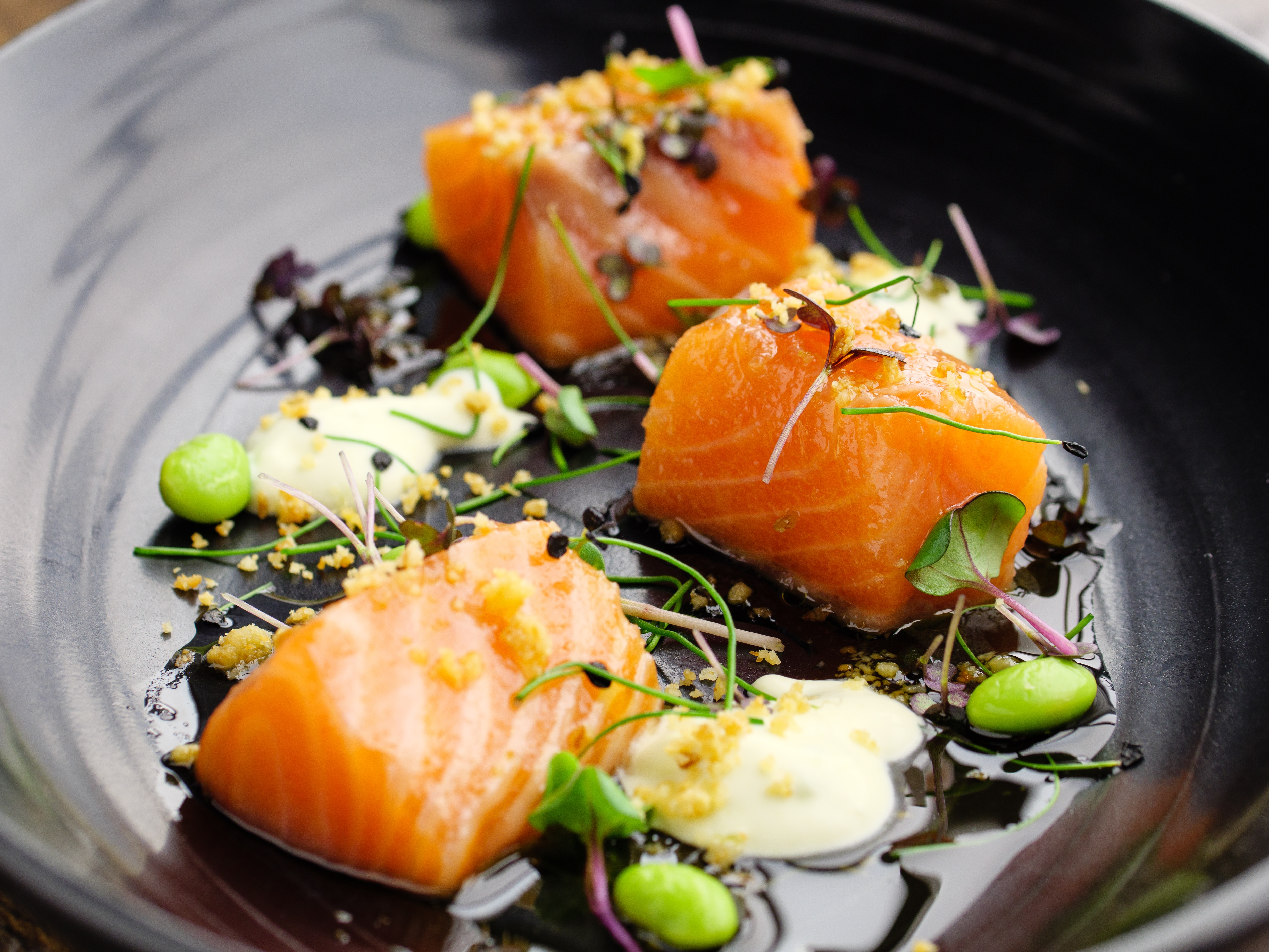Quick Cure Salmon With Edamame And Wasabi Creme Fraiche