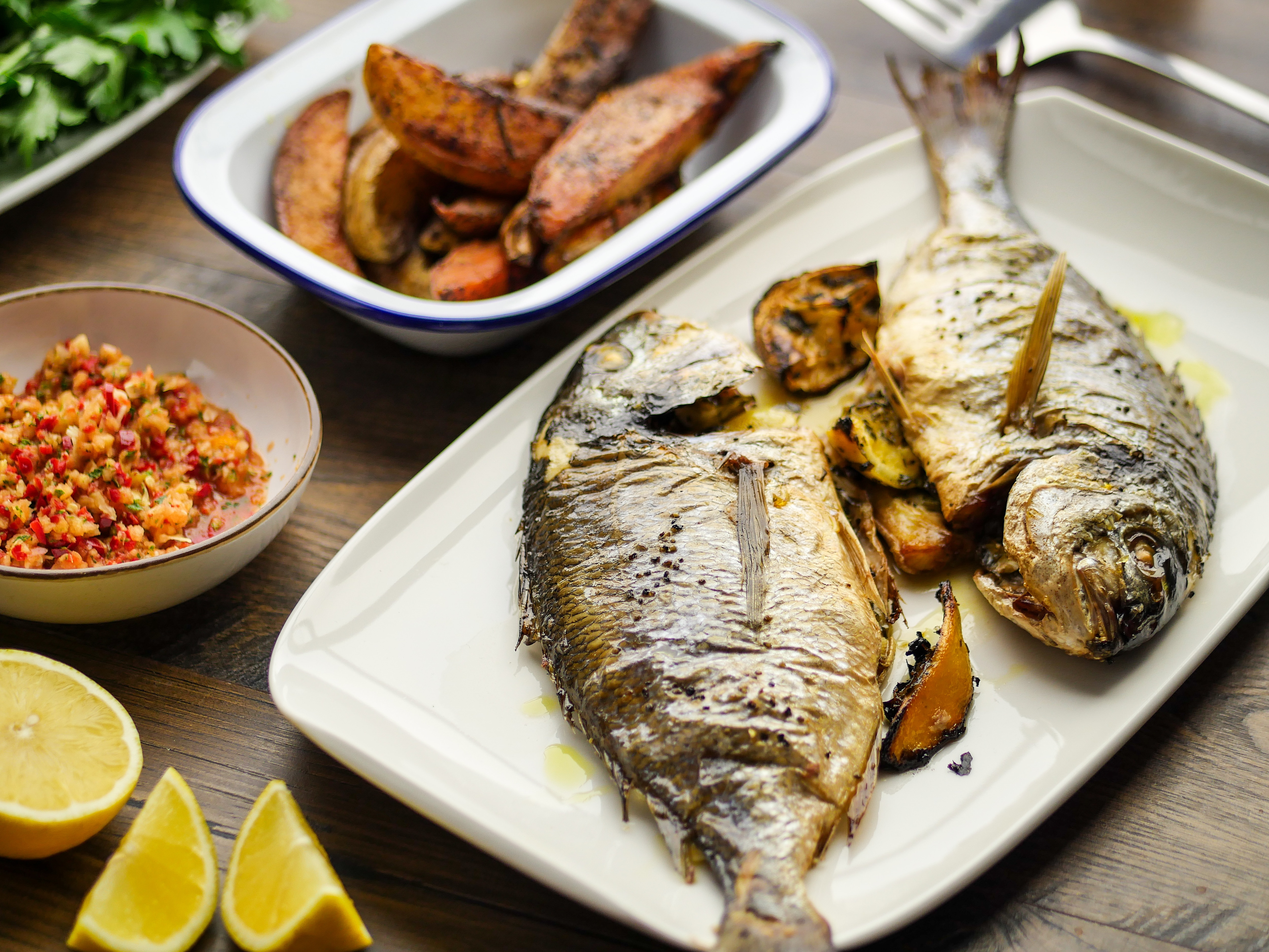 Sea Bream with Sumac Chips & Salsa