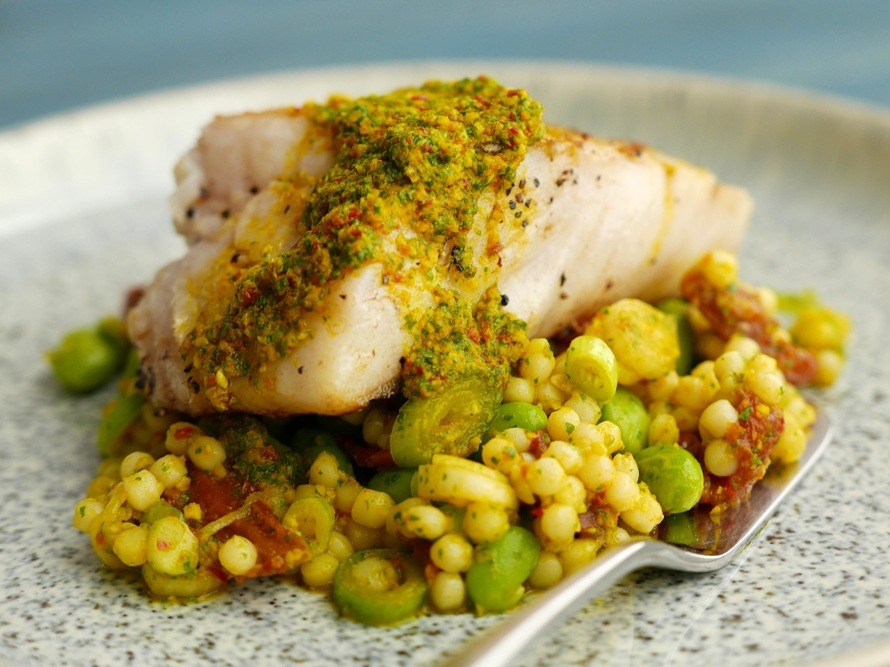 Roast Pollock with Beans, Grains & Rice