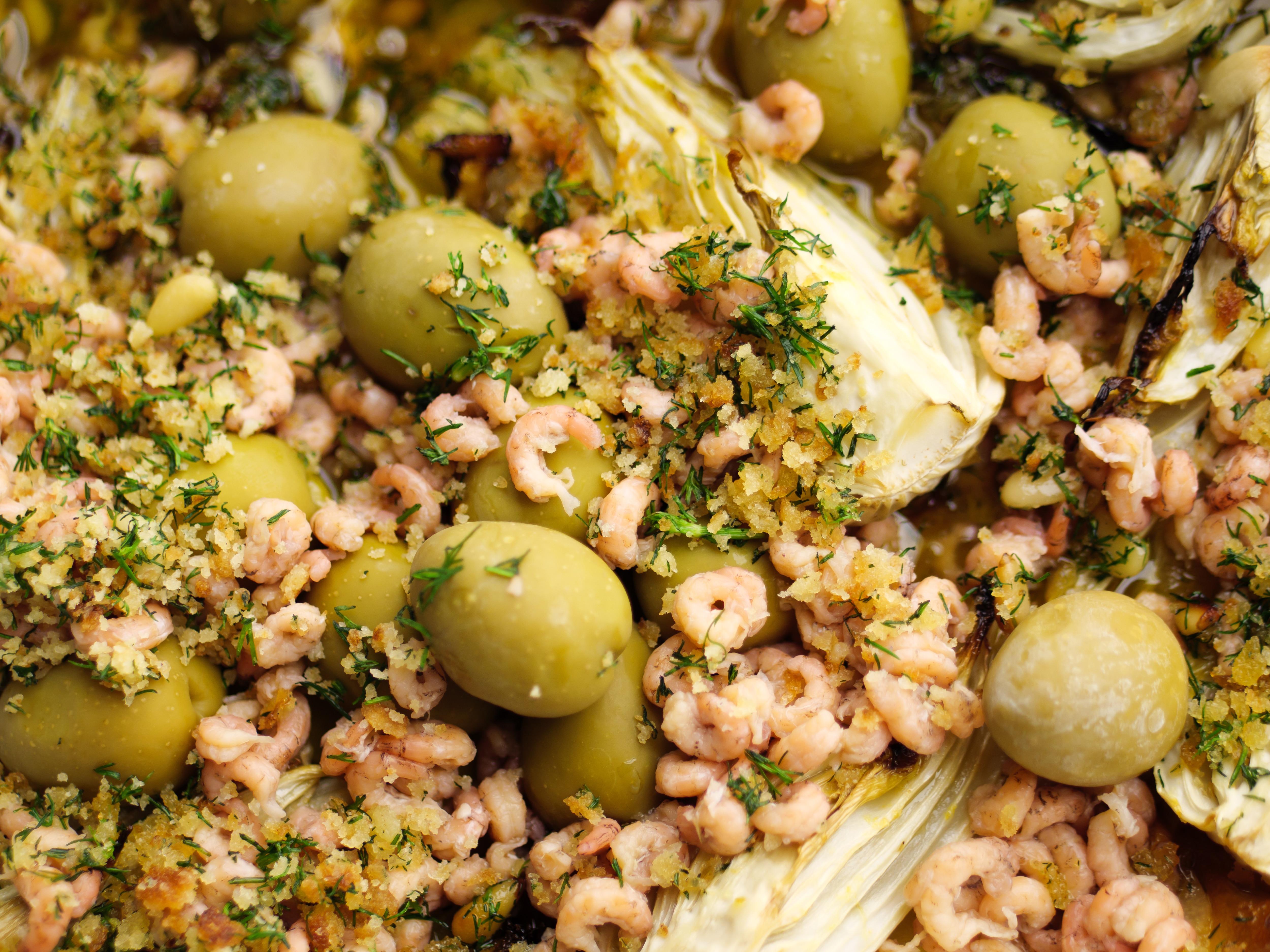 Lemon Roasted Fennel With Olives And Brown Shrimp