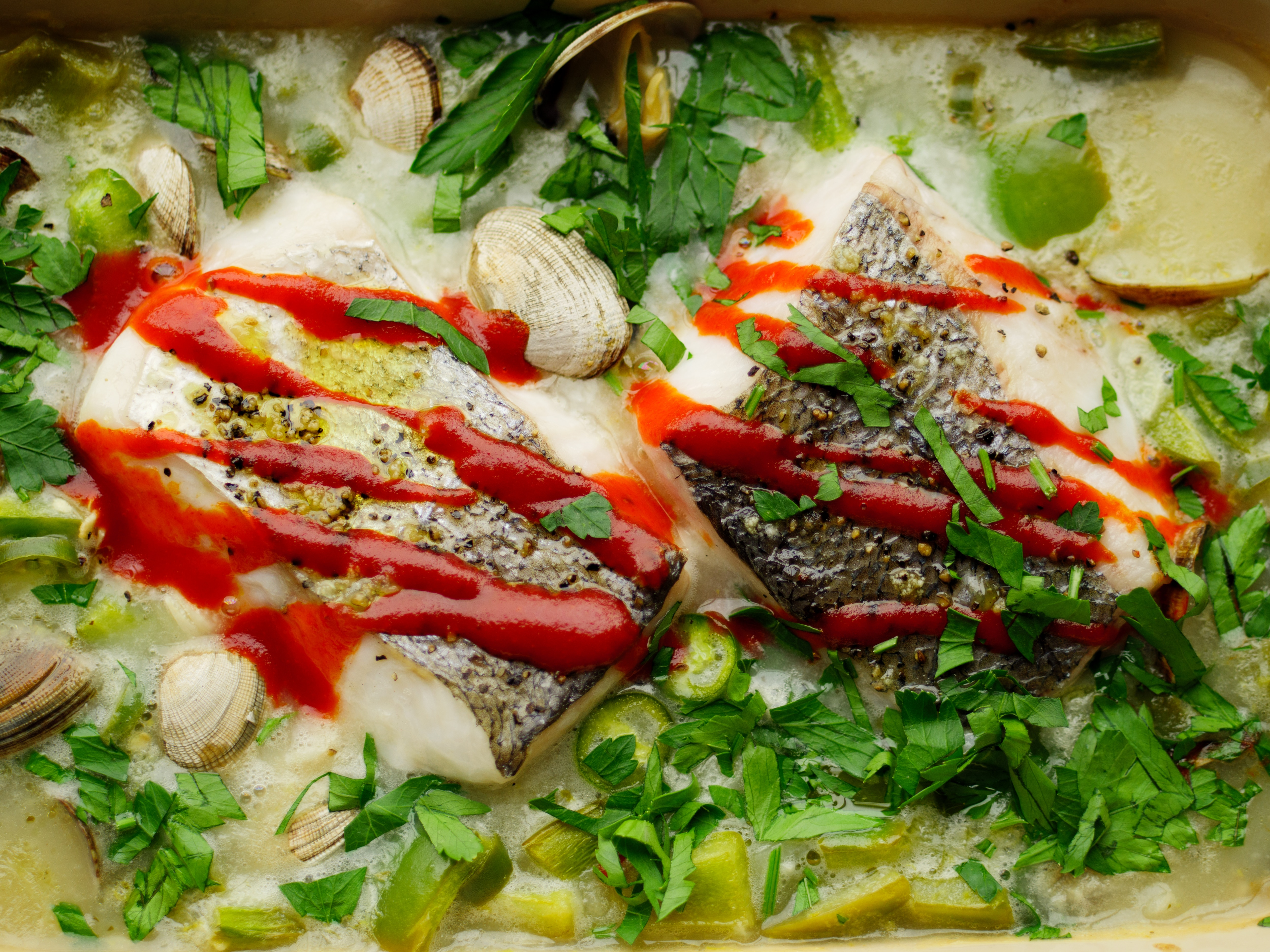 Hake with Clams and Green Peppers