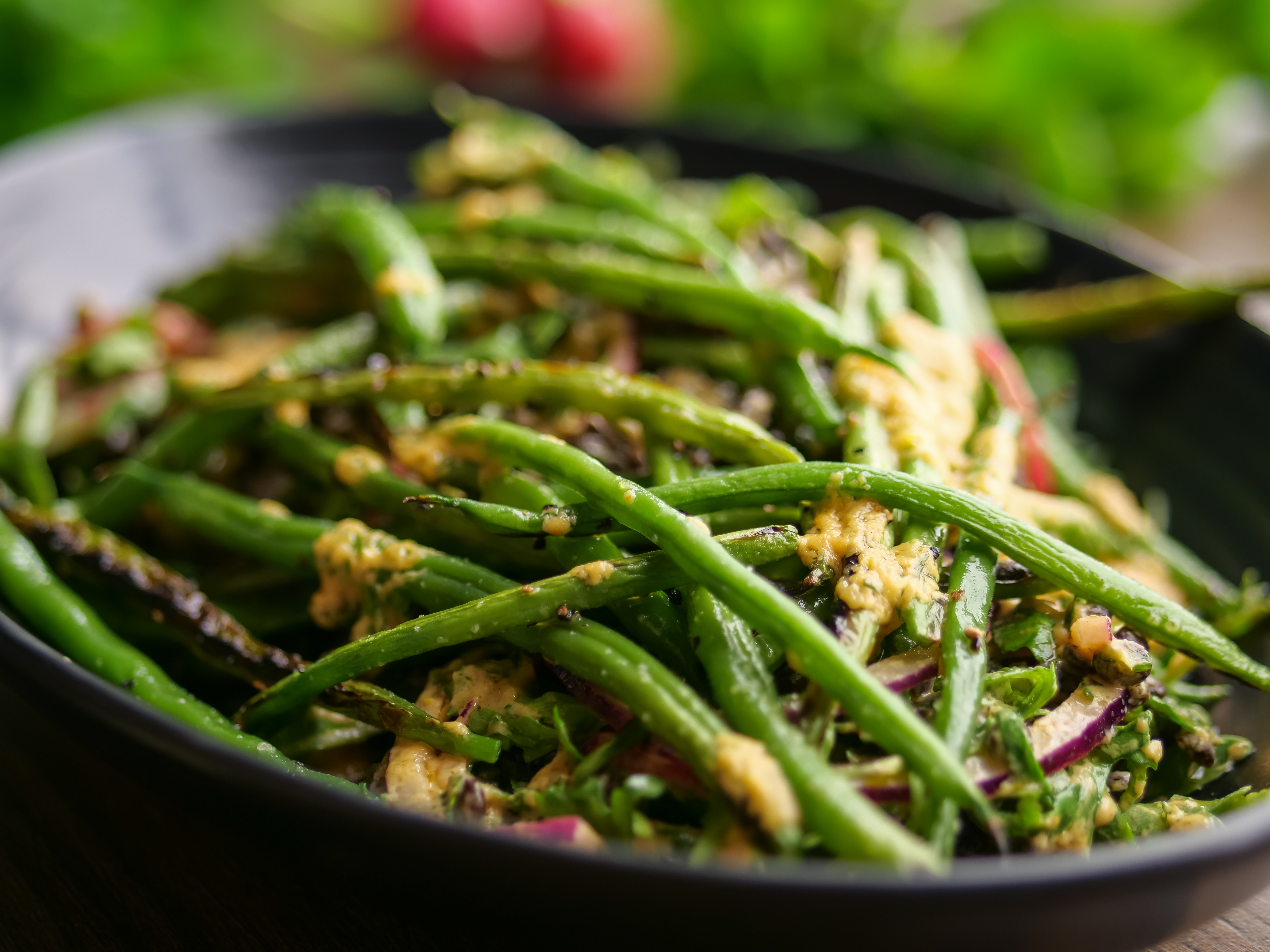 Fried Green Beans With Lentils And Tahini