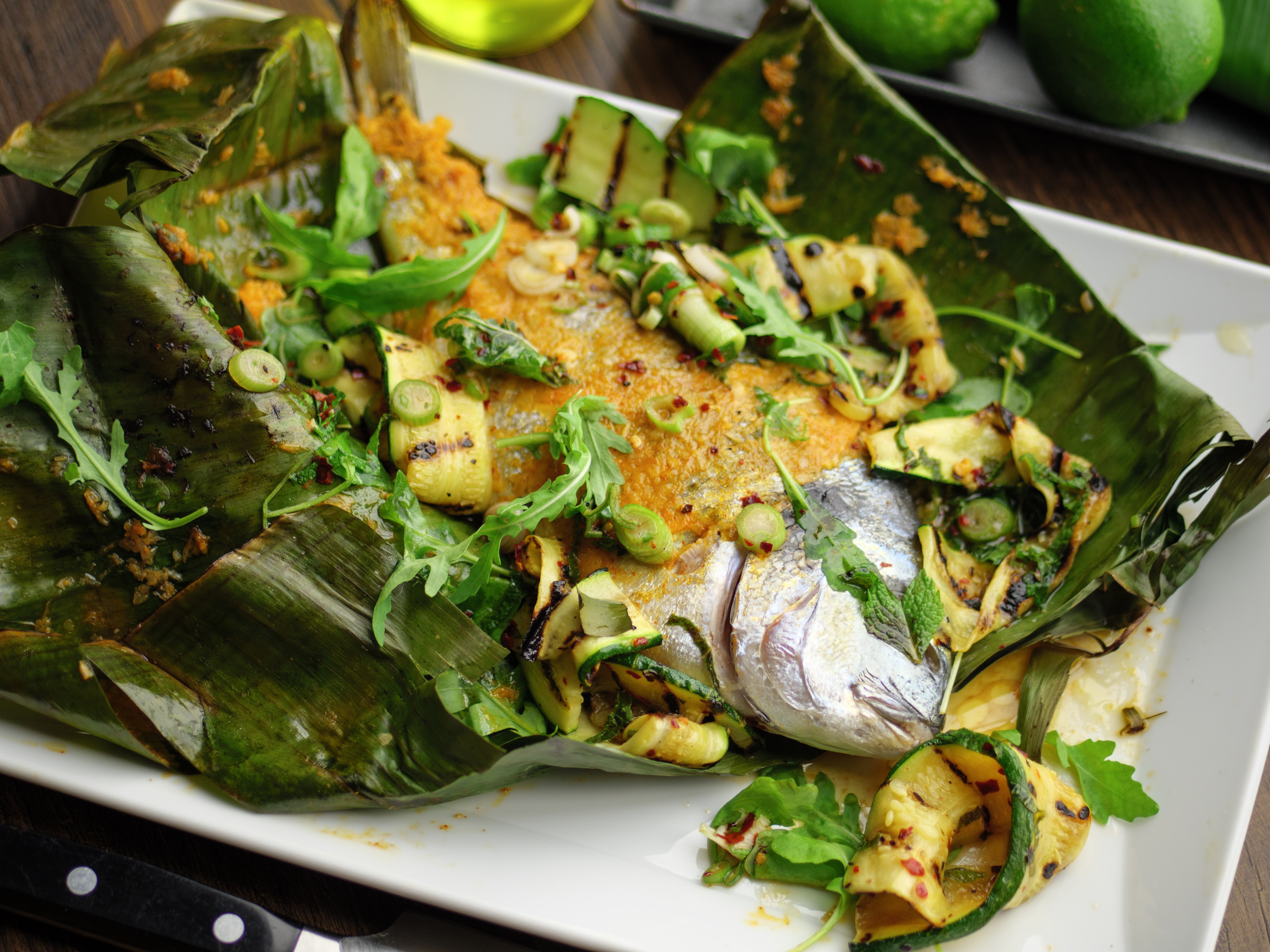 Whole Sea Bream With Courgette Salad
