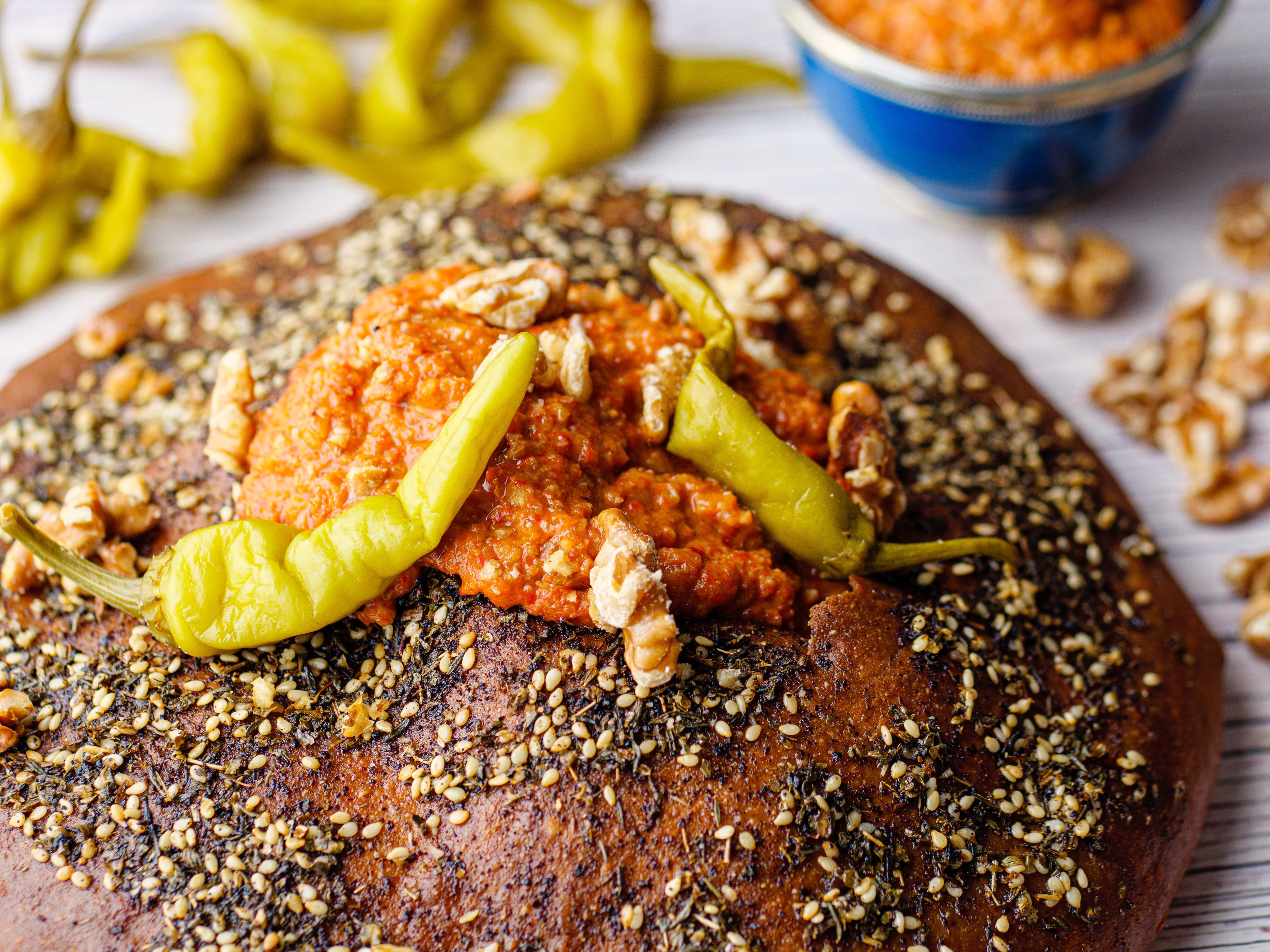 Muhamarra Pepper & Walnut Dip with Flatbread