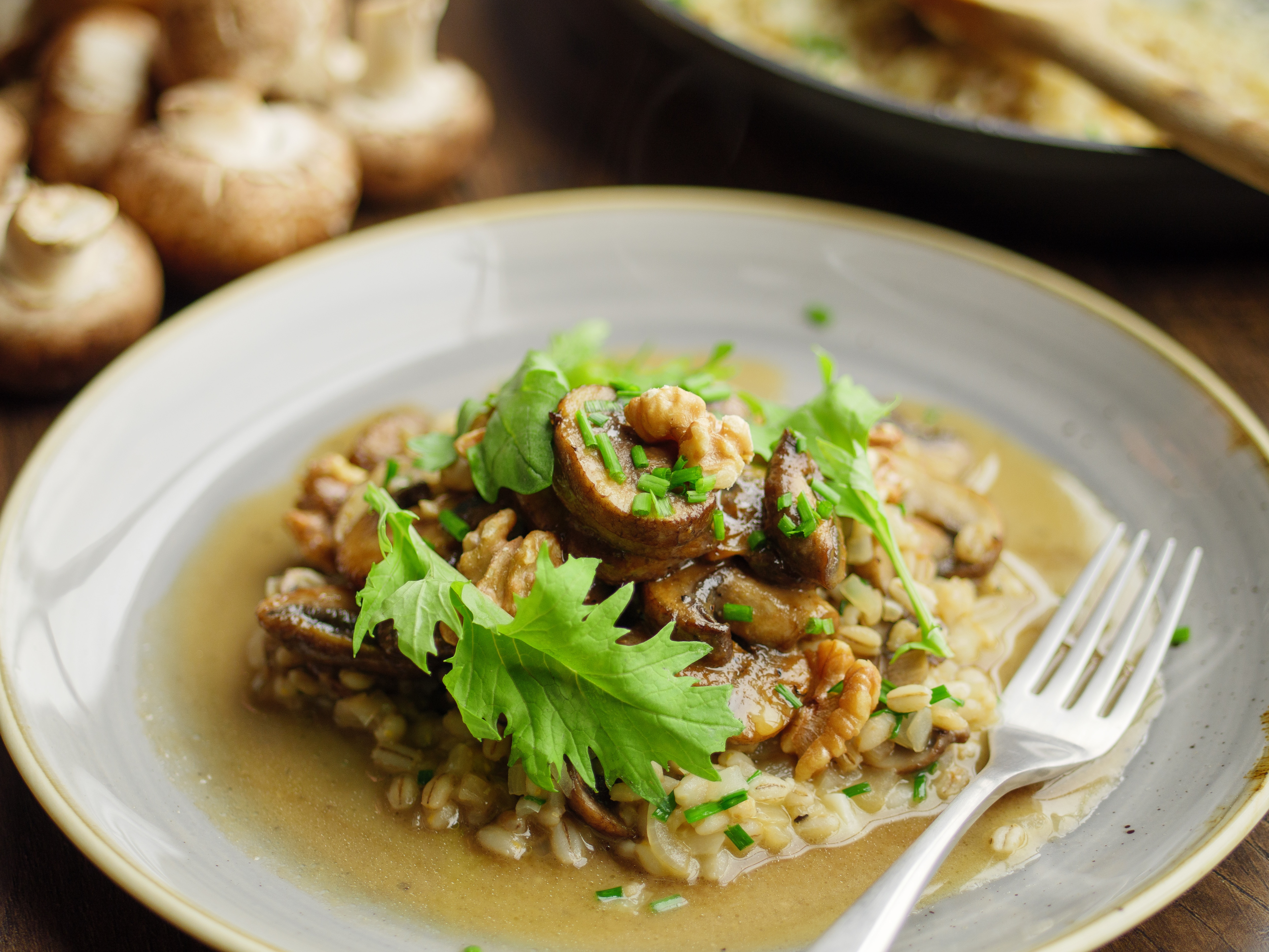 Miso Glazed Mushrooms With Barley