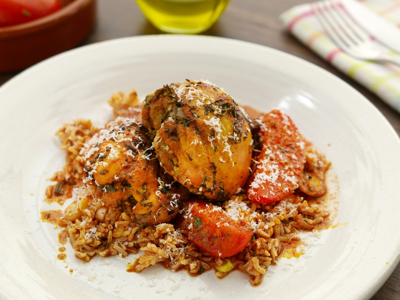 Chicken Thighs with Marinated Tomatoes