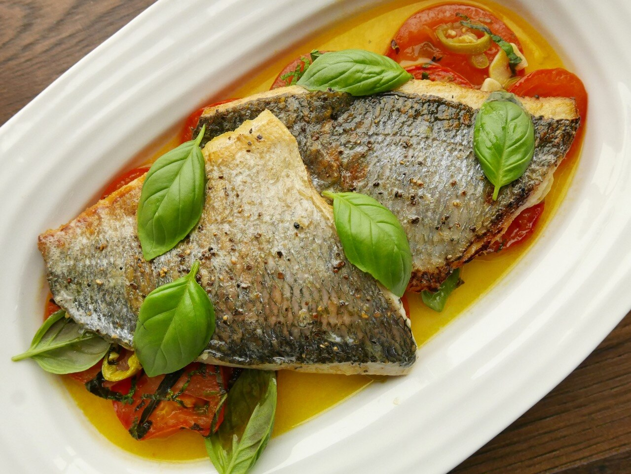 Sea bream with Tomatoes, Basil & Mint