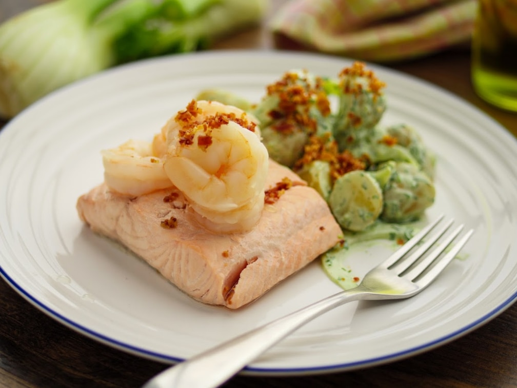 Poached Salmon and Prawns with Green Goddess Potato Salad