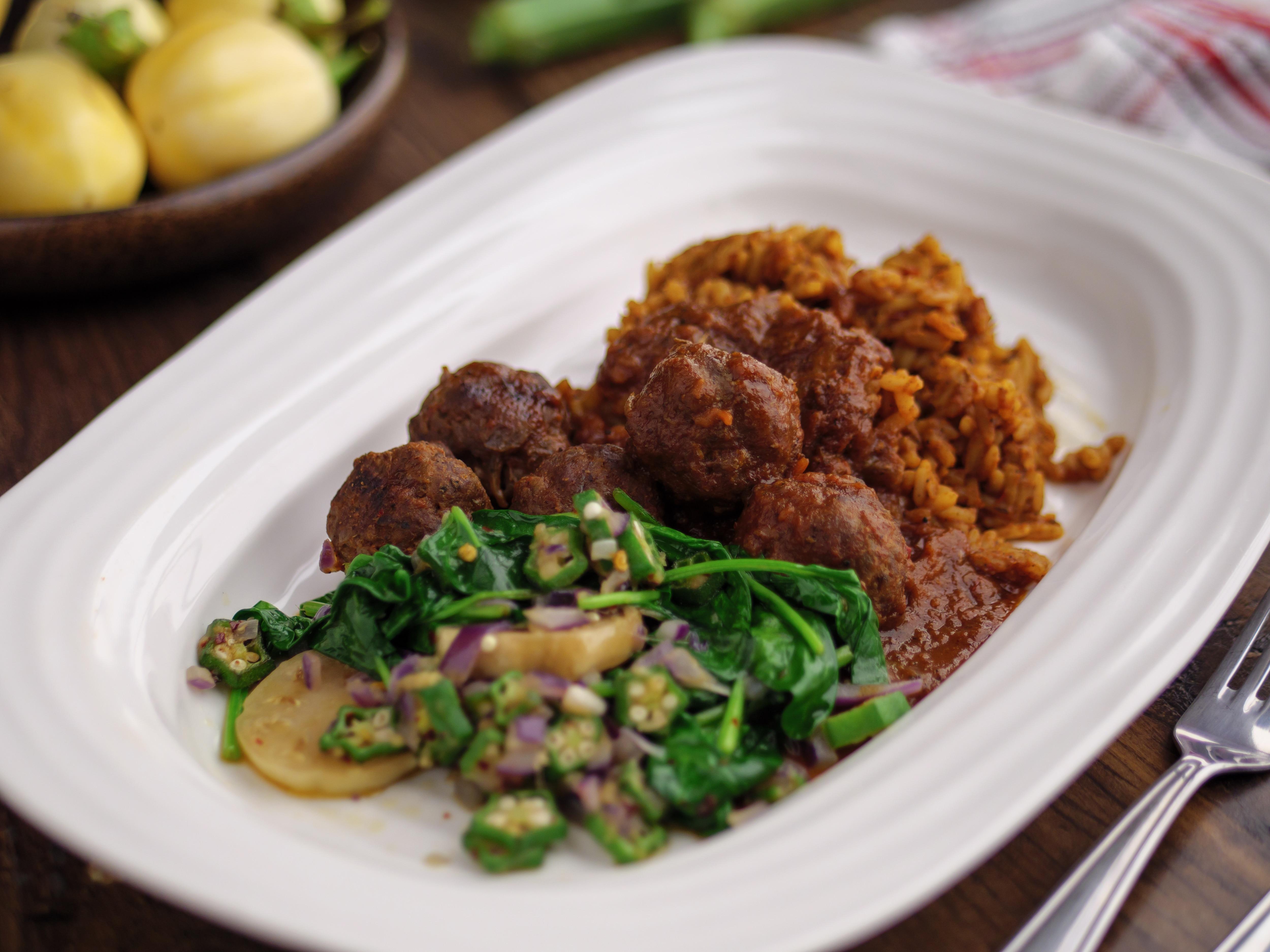 Suya Meatballs With Jollof Rice