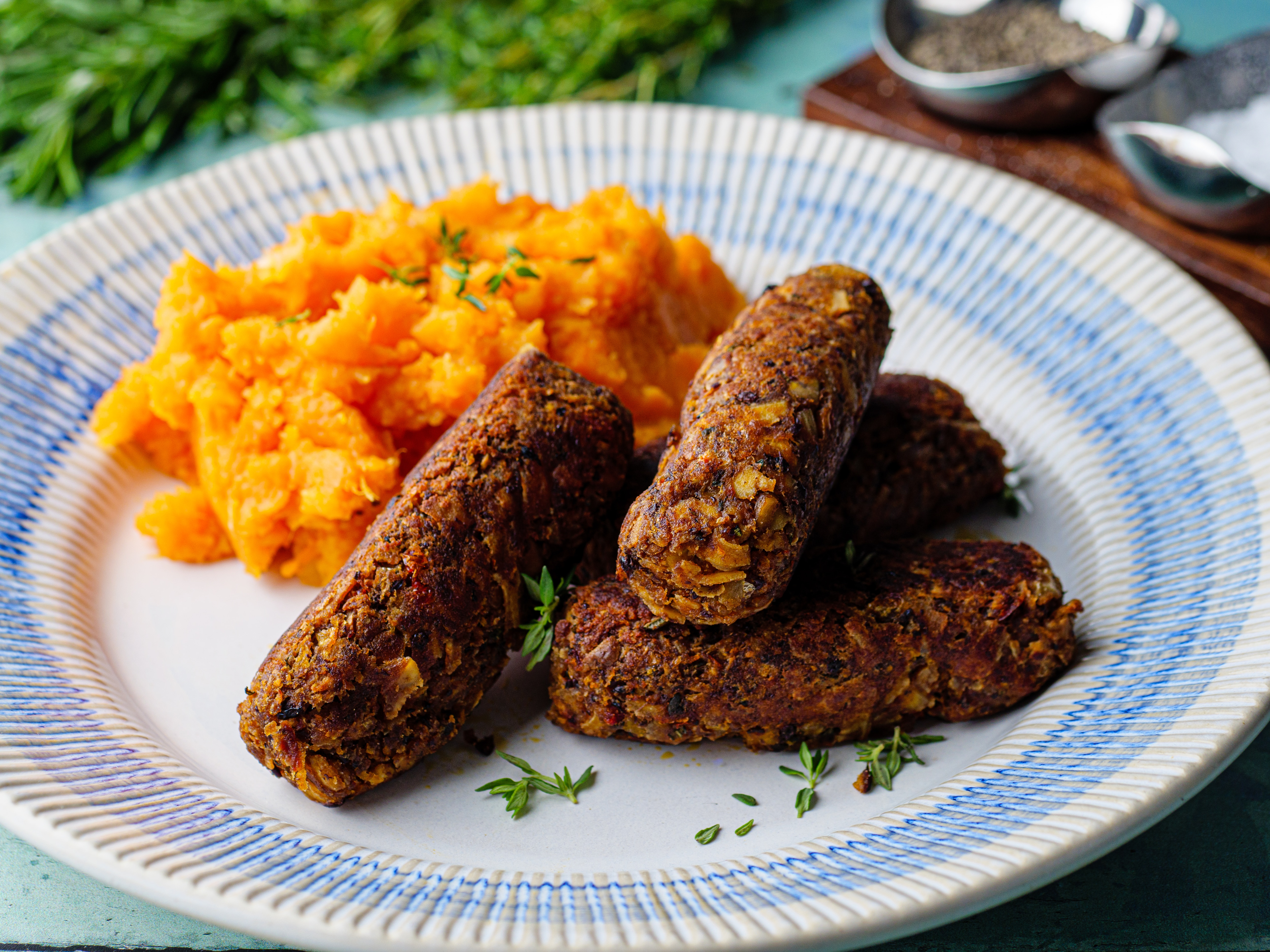 Black Bean Sausages with Mixed Root Mash