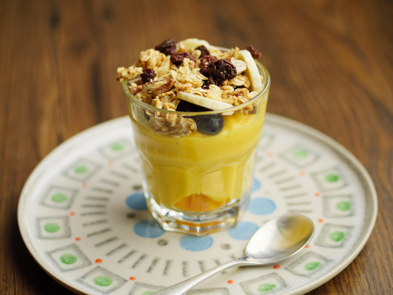 Mango Coconut Mousse With Granola Crumb