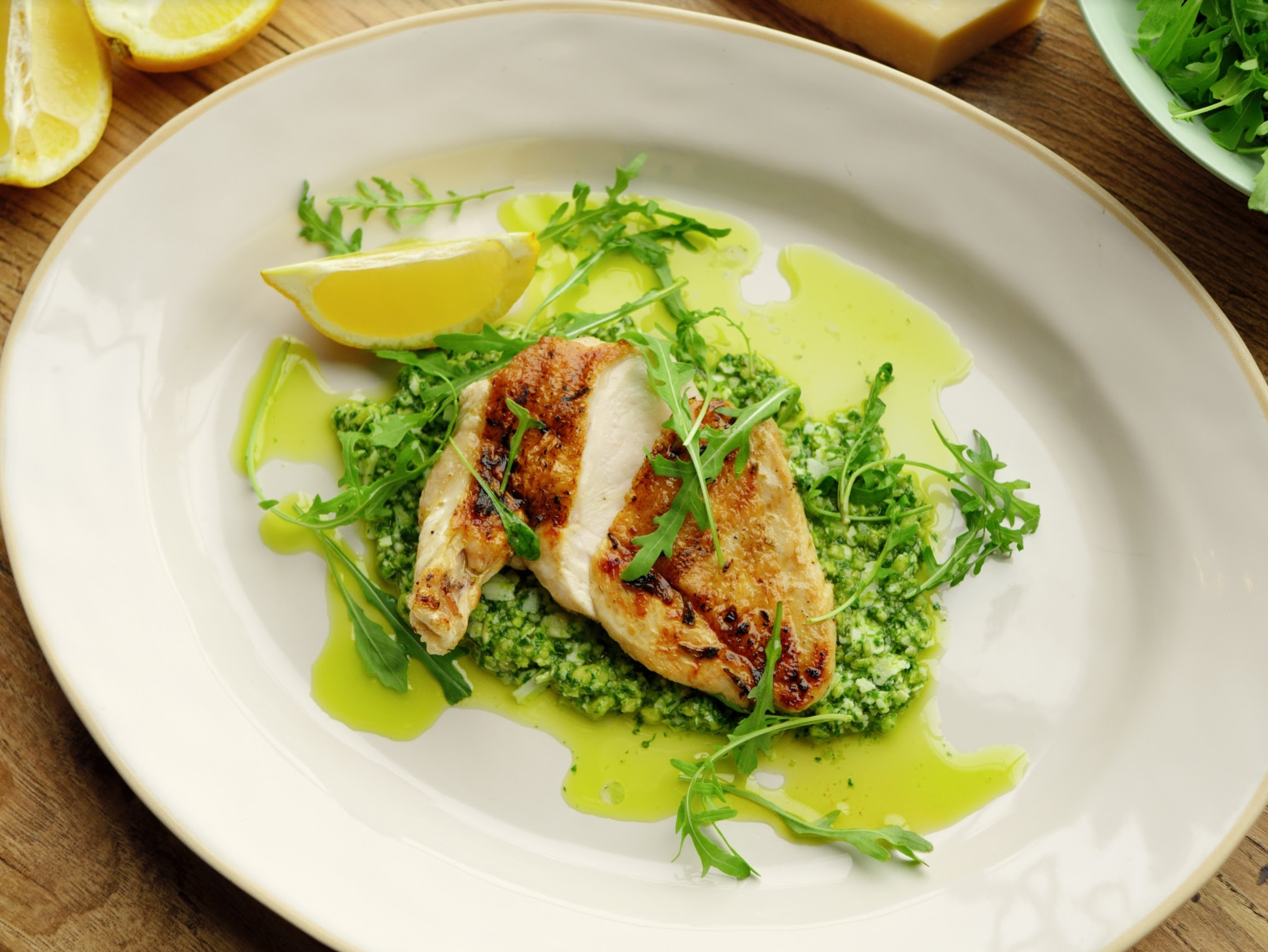 Jamie Oliver's Chicken Under a Brick with Mixed Herb and Almond Pesto