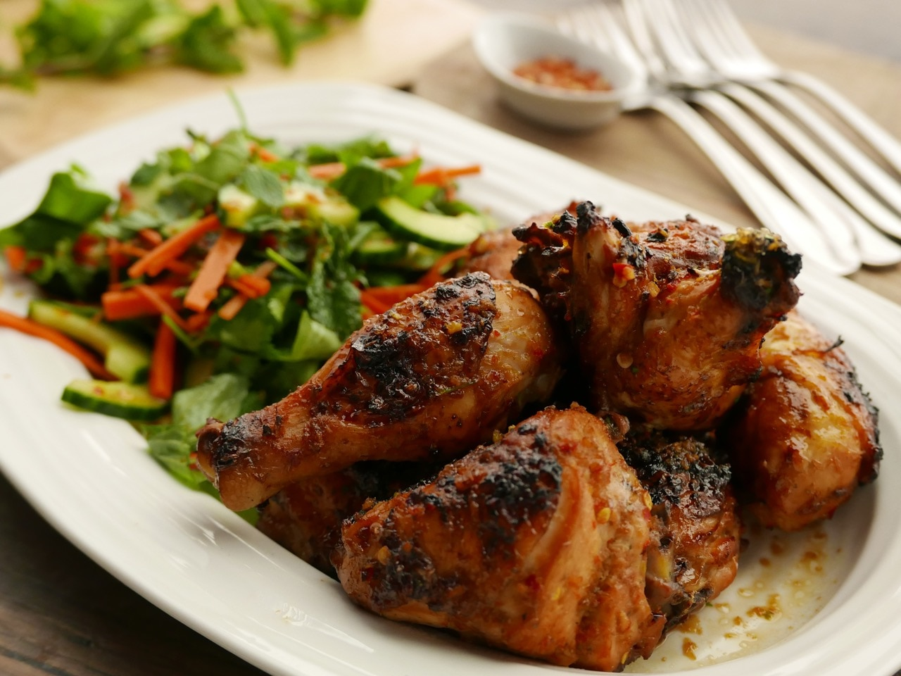 Spiced Chicken with Cucumber Salad