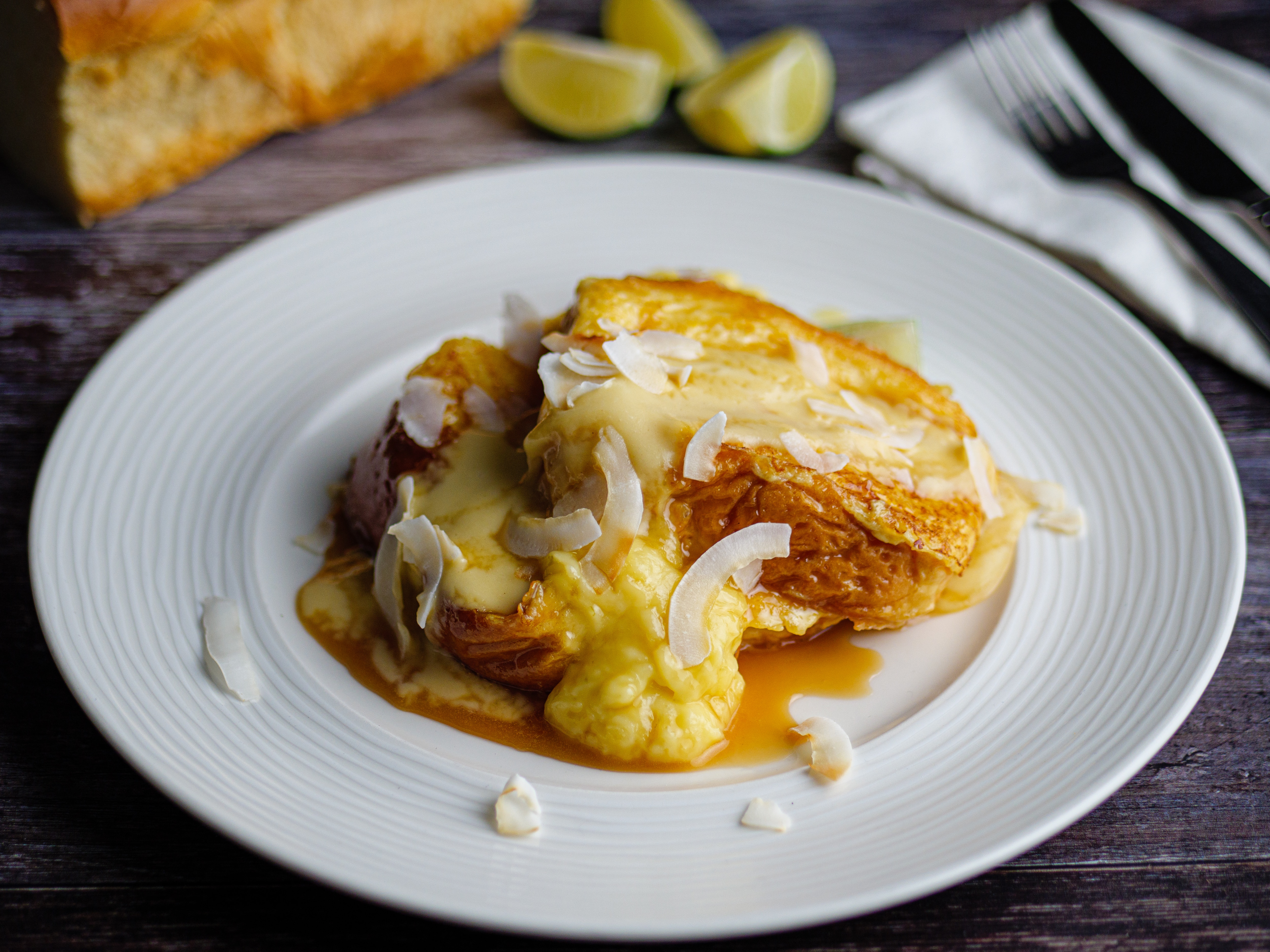 Tres Leches French Toast with Lime Curd and Coconut Cream