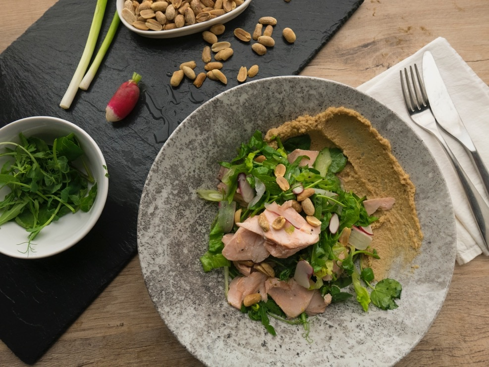 Poached Salmon and Peanut Salad