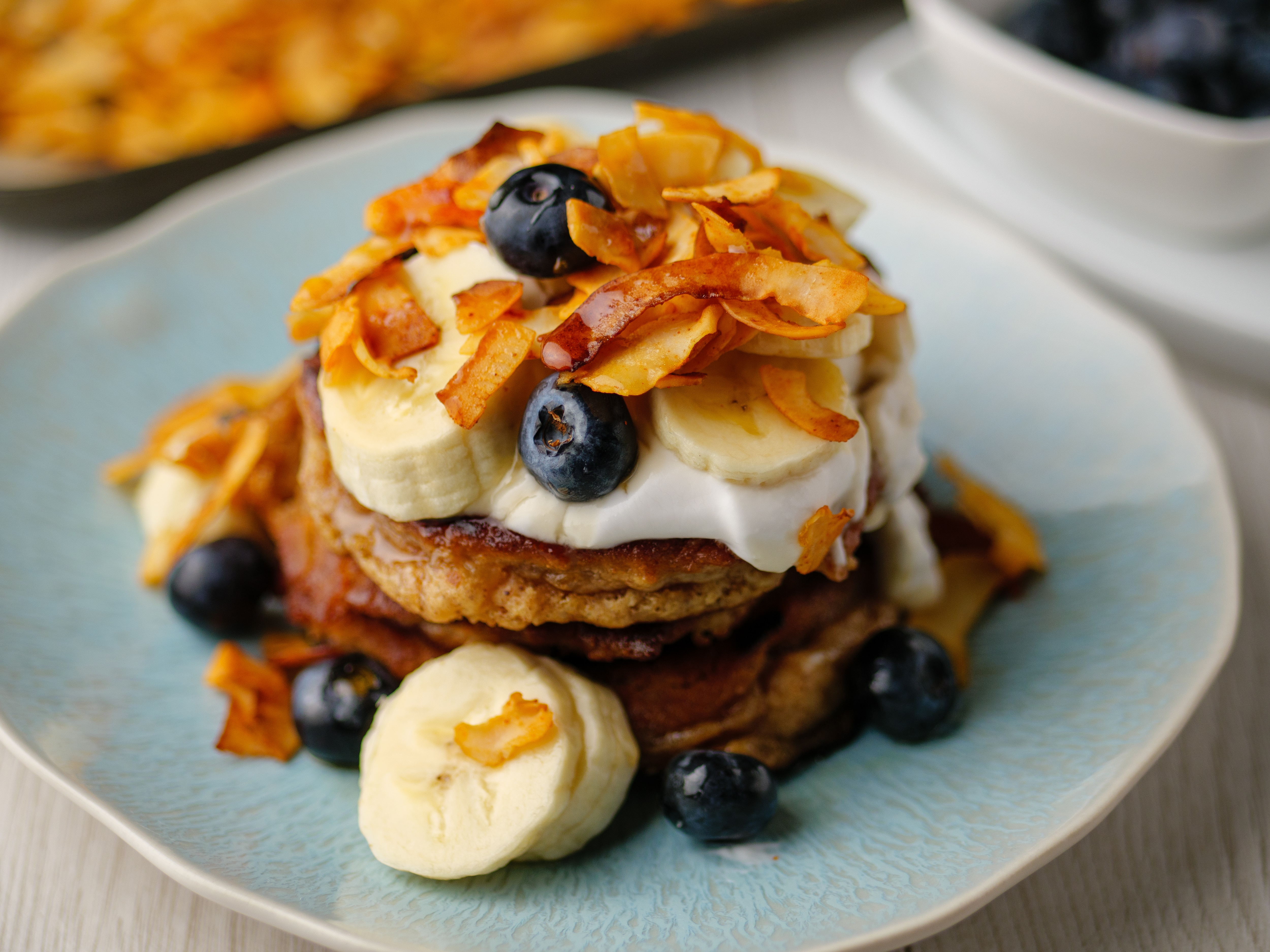 Almond Butter Breakfast Pancakes With Coconut 'Bacon'