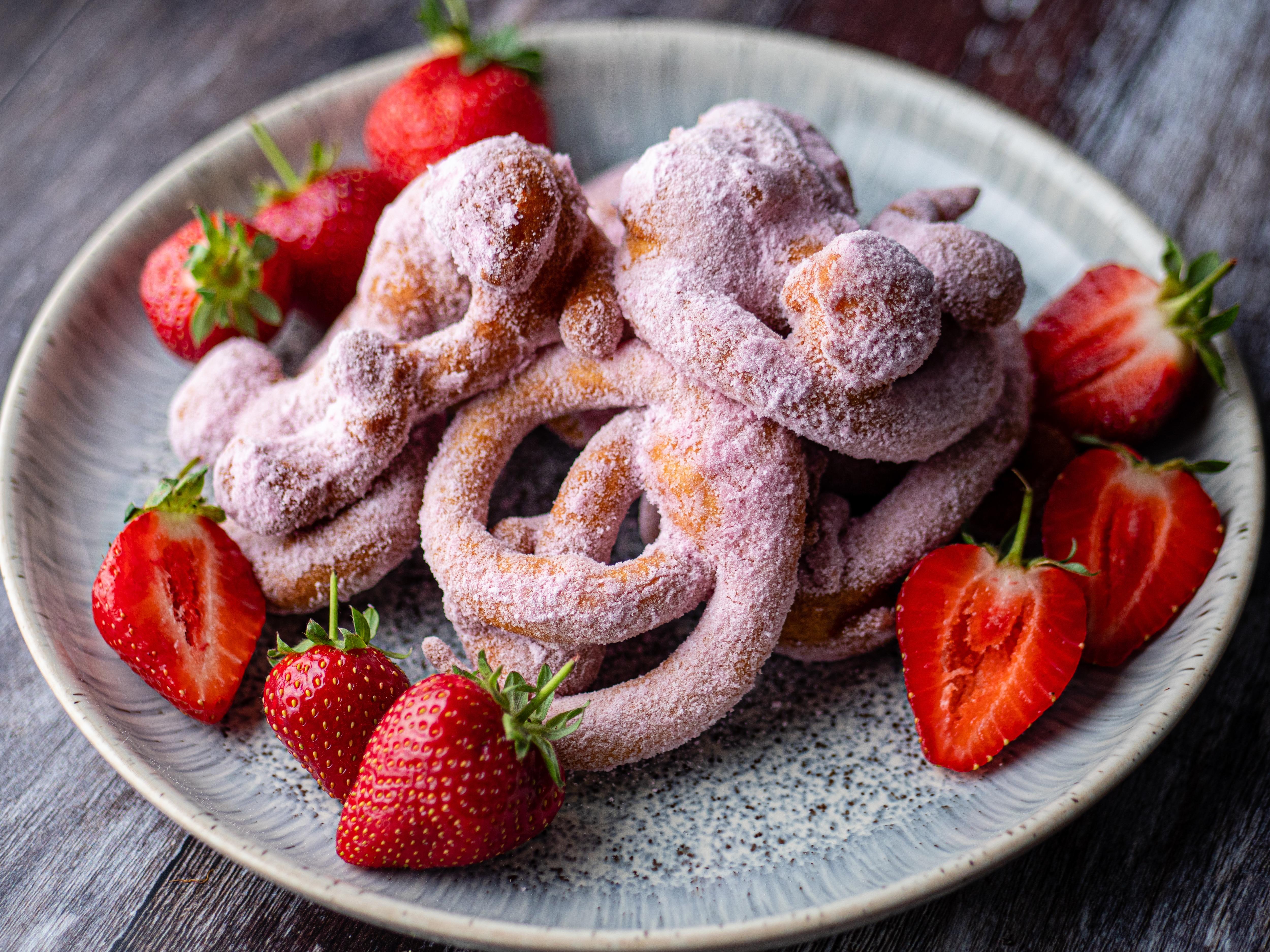 Strawberry Milkshake Funnel Cakes