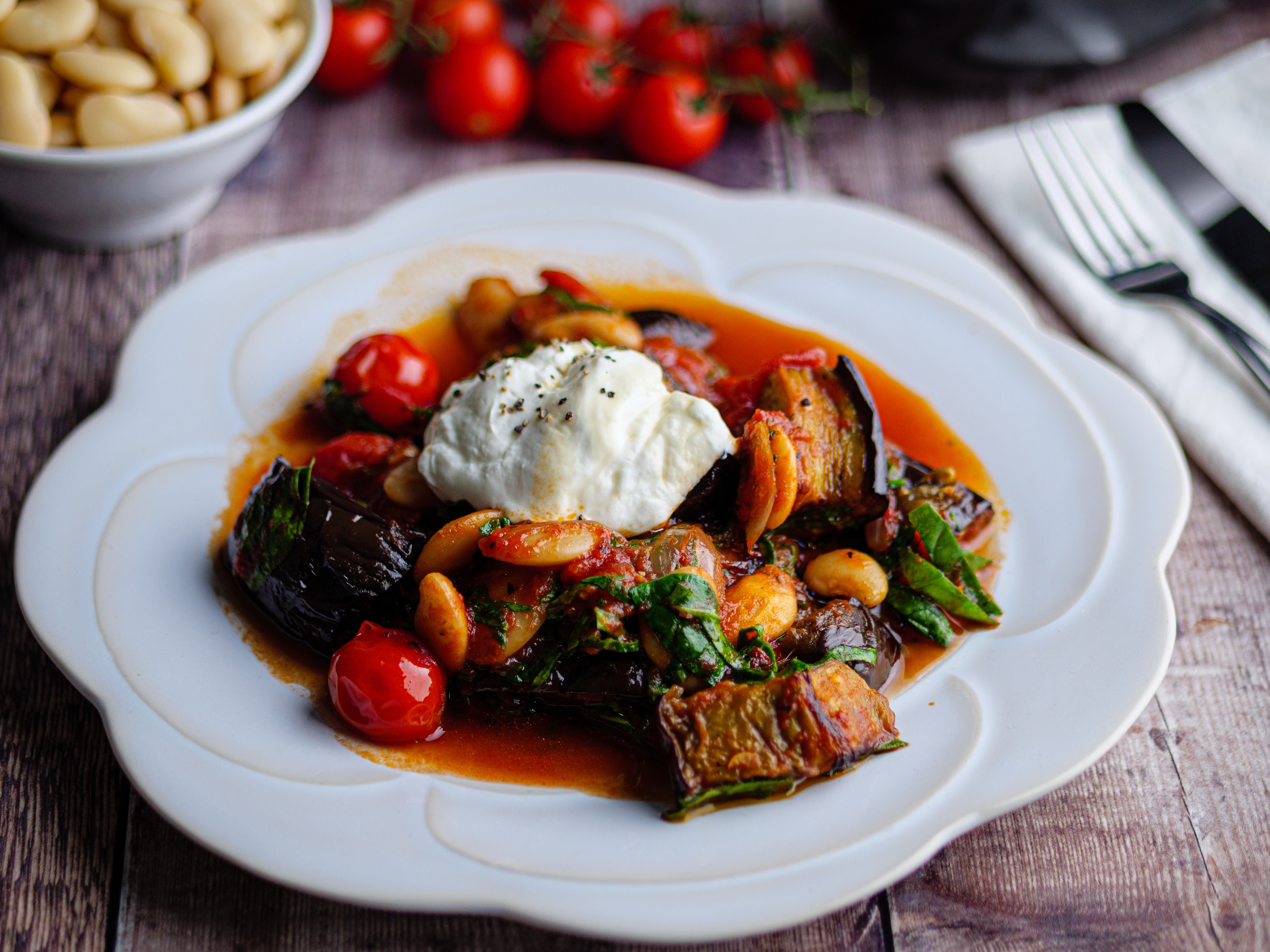 Butter Beans Baked with Aubergine and Spinach