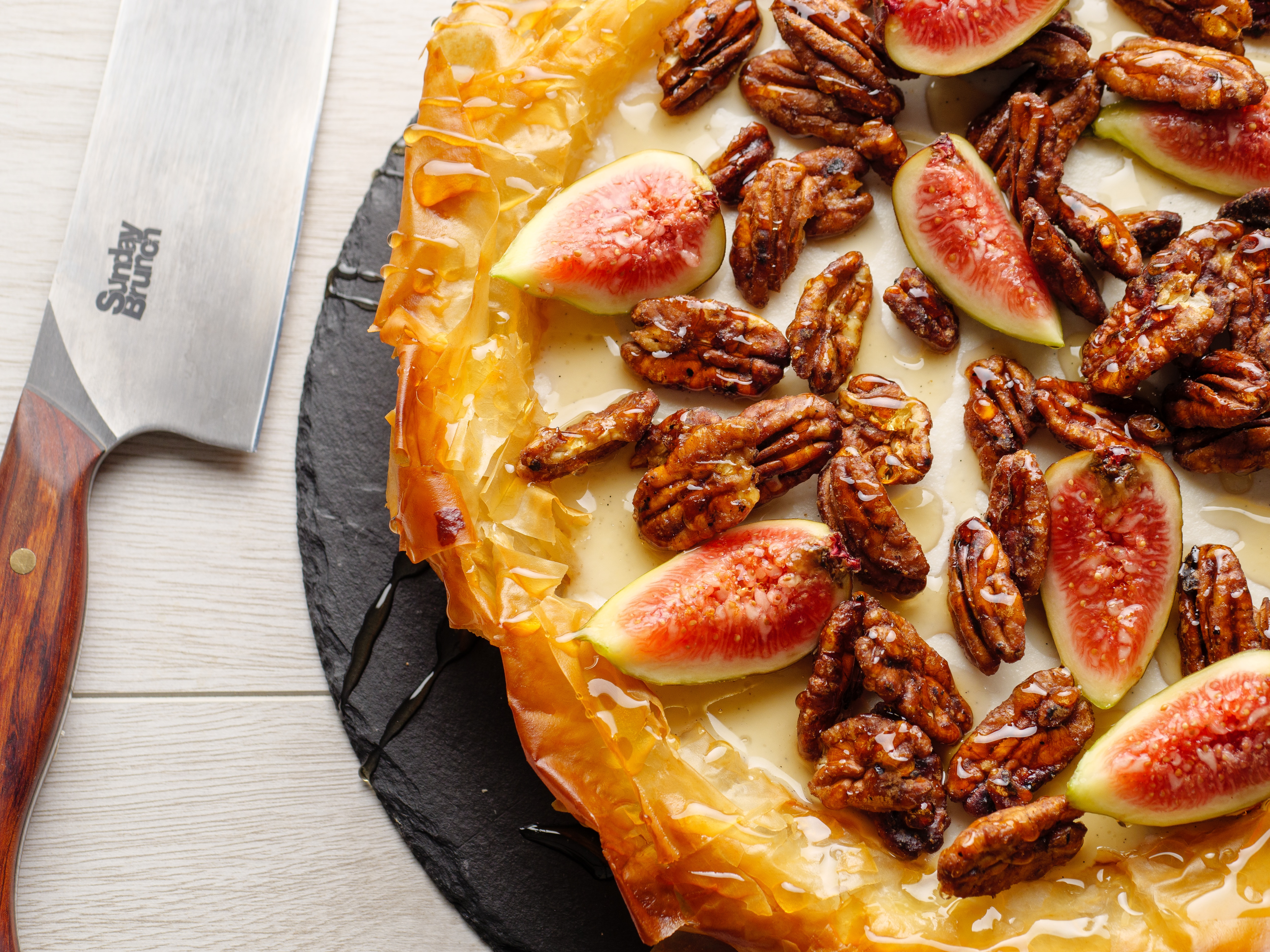 Ricotta Filo Tart With Candied Pecans.