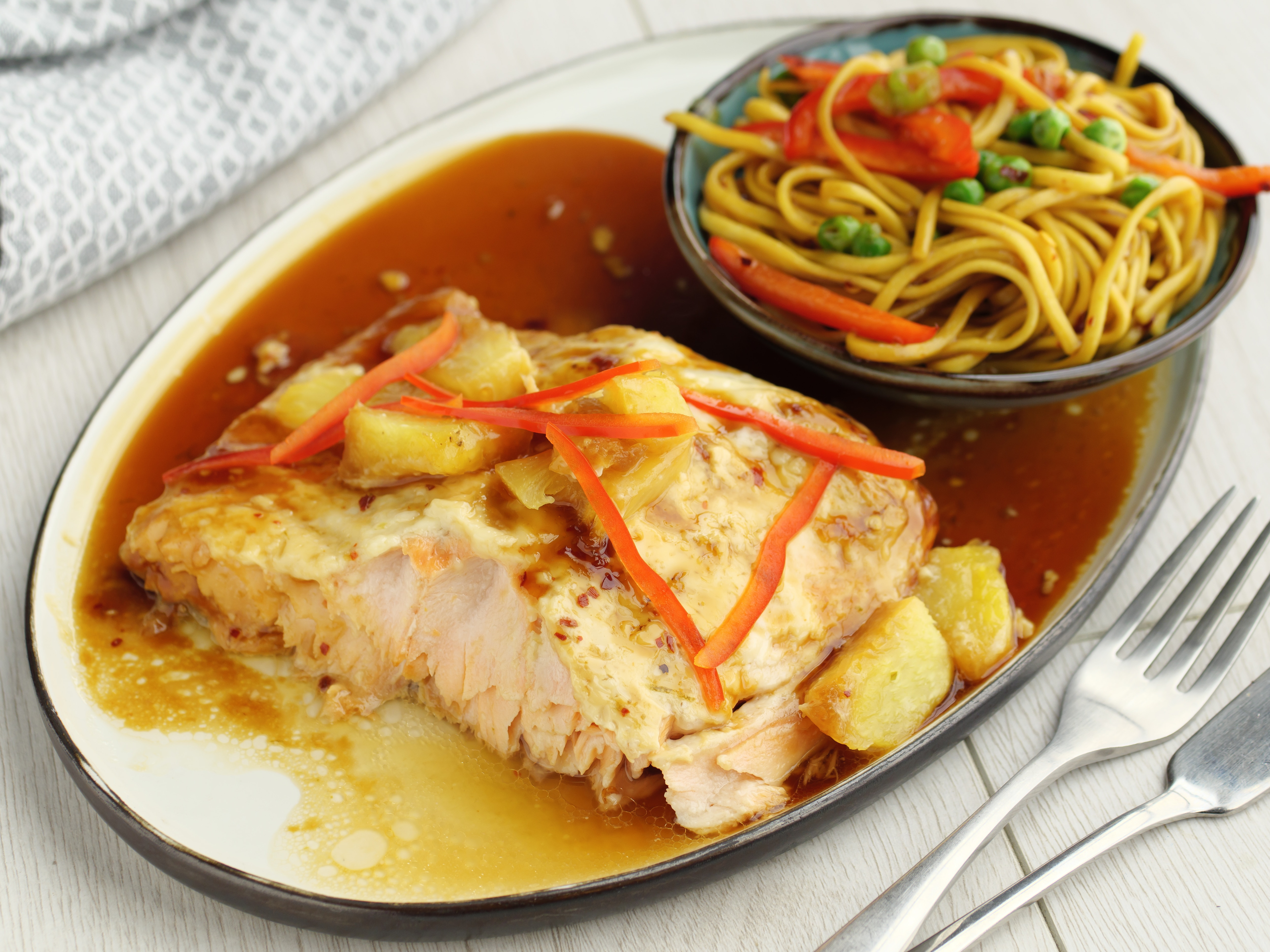 Baked Pineapple Salmon With Noodles