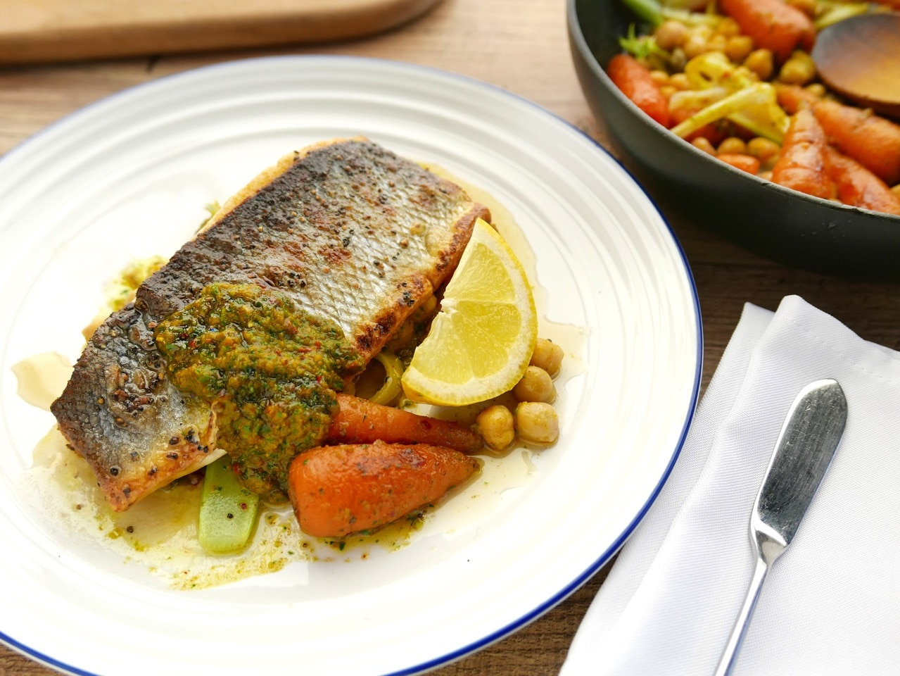 Sea Bass With Crushed Chickpeas and Carrots