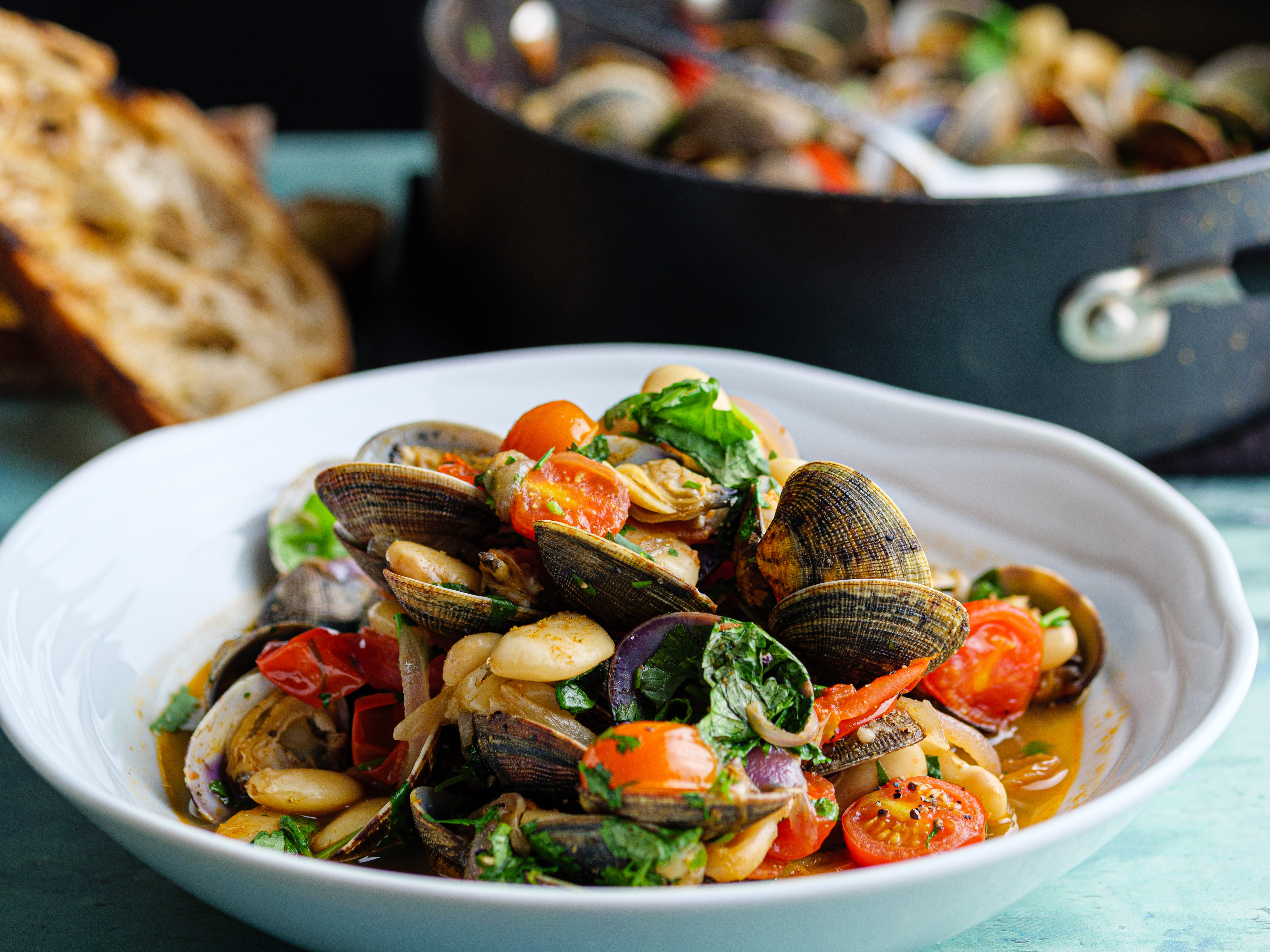 Boozy Clams with Tomato and Beans