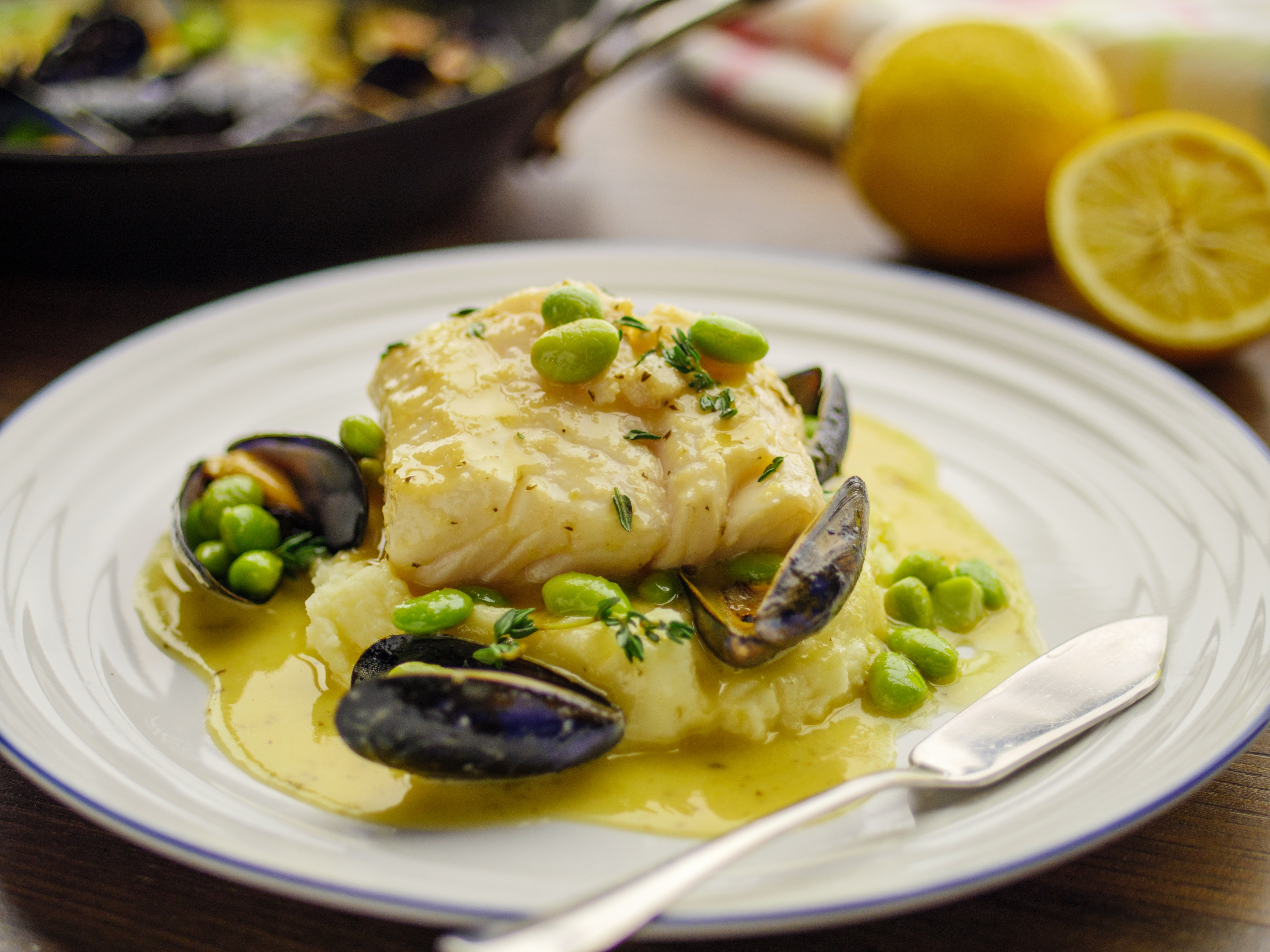 Butter Poached cod and mussels
