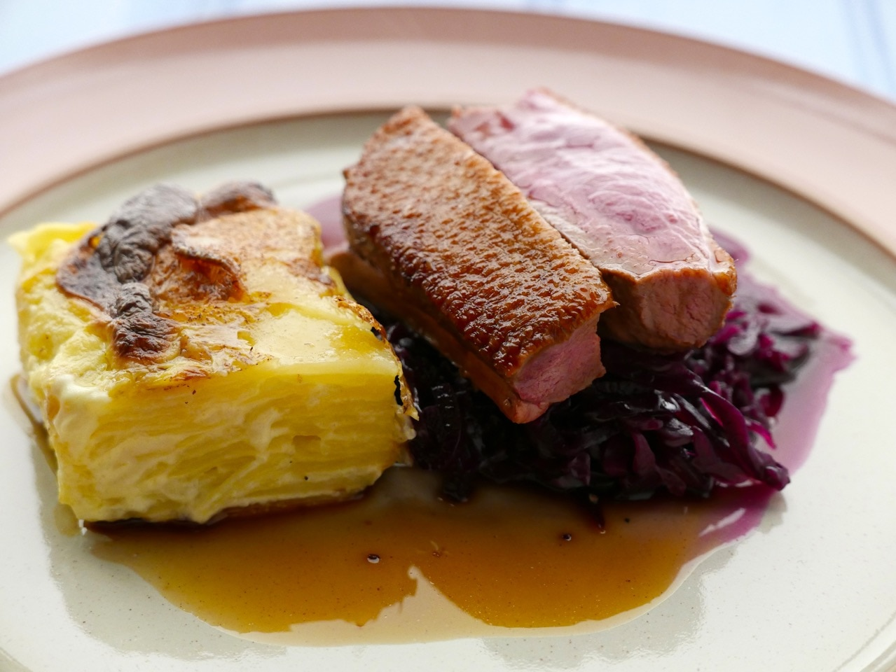Duck with Dauphinoise and Red Cabbage