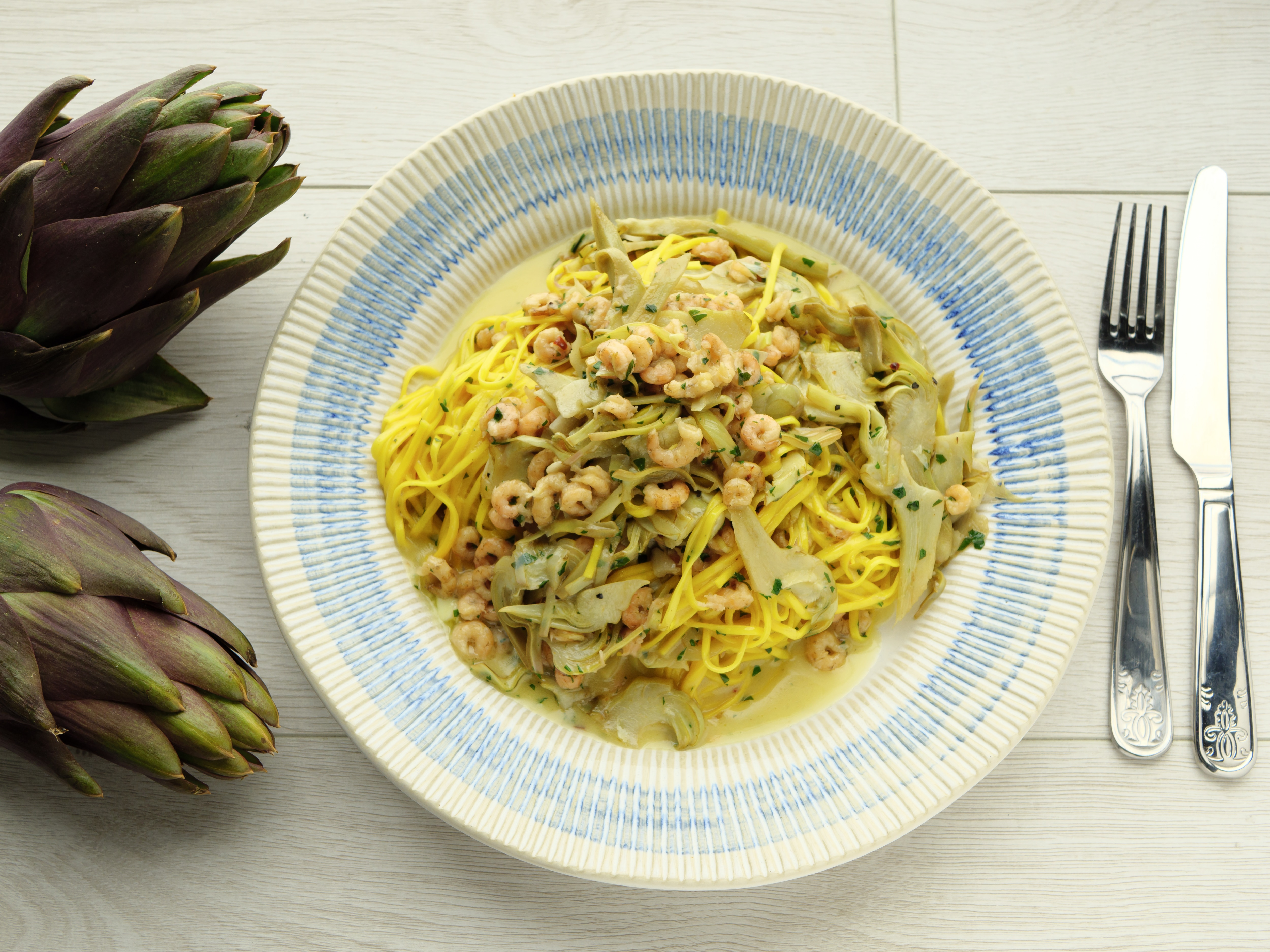 Tagliarini With Brown Shrimps, Artichokes, Butter & Parsley