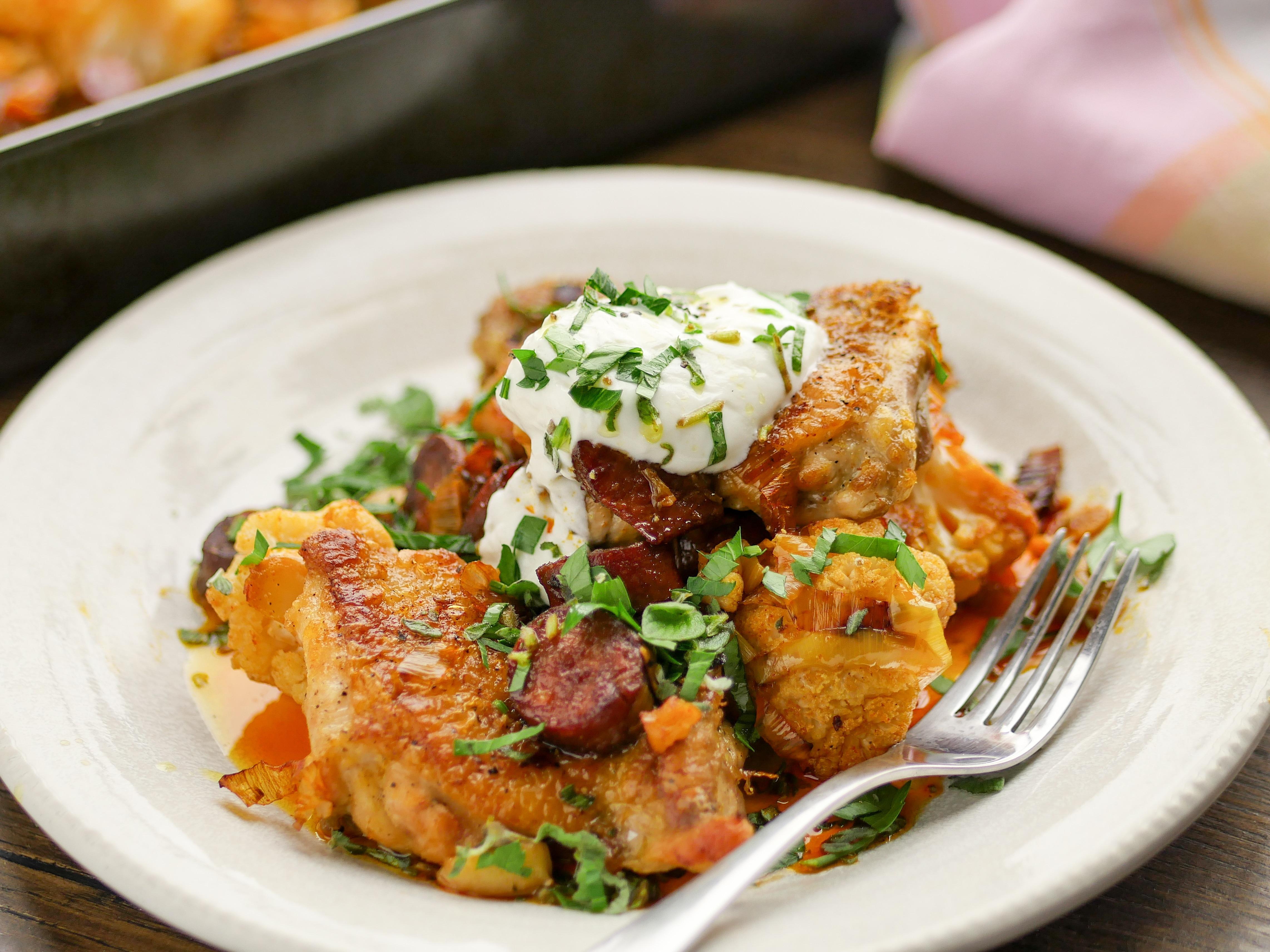 Baked Chicken with Chorizo and Cauliflower