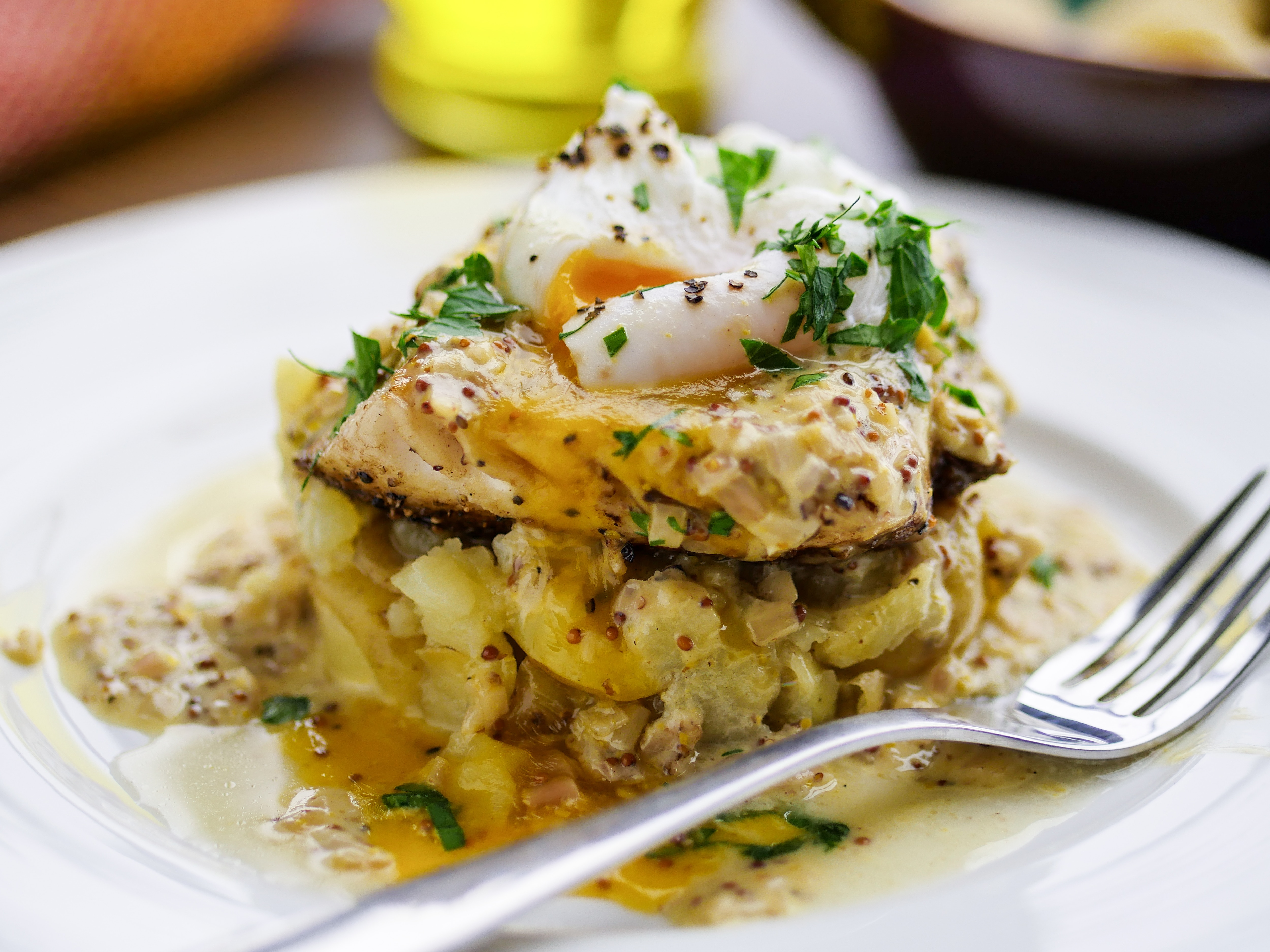 Hake with Crushed Potatoes and Mustard Butter Sauce