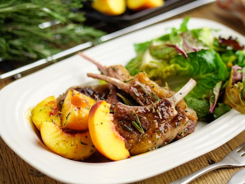 Rosemary Lamb Cutlers With Grilled Peaches