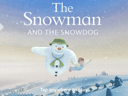 The Snowman and The Snowdog flying through the air in the enchanting new game
