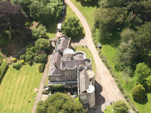 An aerial view of Upton Castle