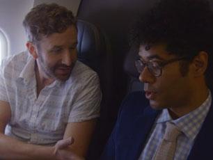 Richard Ayoade and Chris O'Dowd on a plane