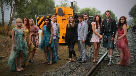 #HollyoaksEndOfTheLine: Backstage at the Train Crash!