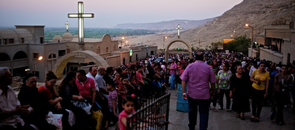 A photo of pilgrims at the Monastery of the Virgin Mary - Walking the Nile