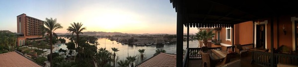 A panoramic photo of the Old Cateract Hotel Aswan - Walking the Nile