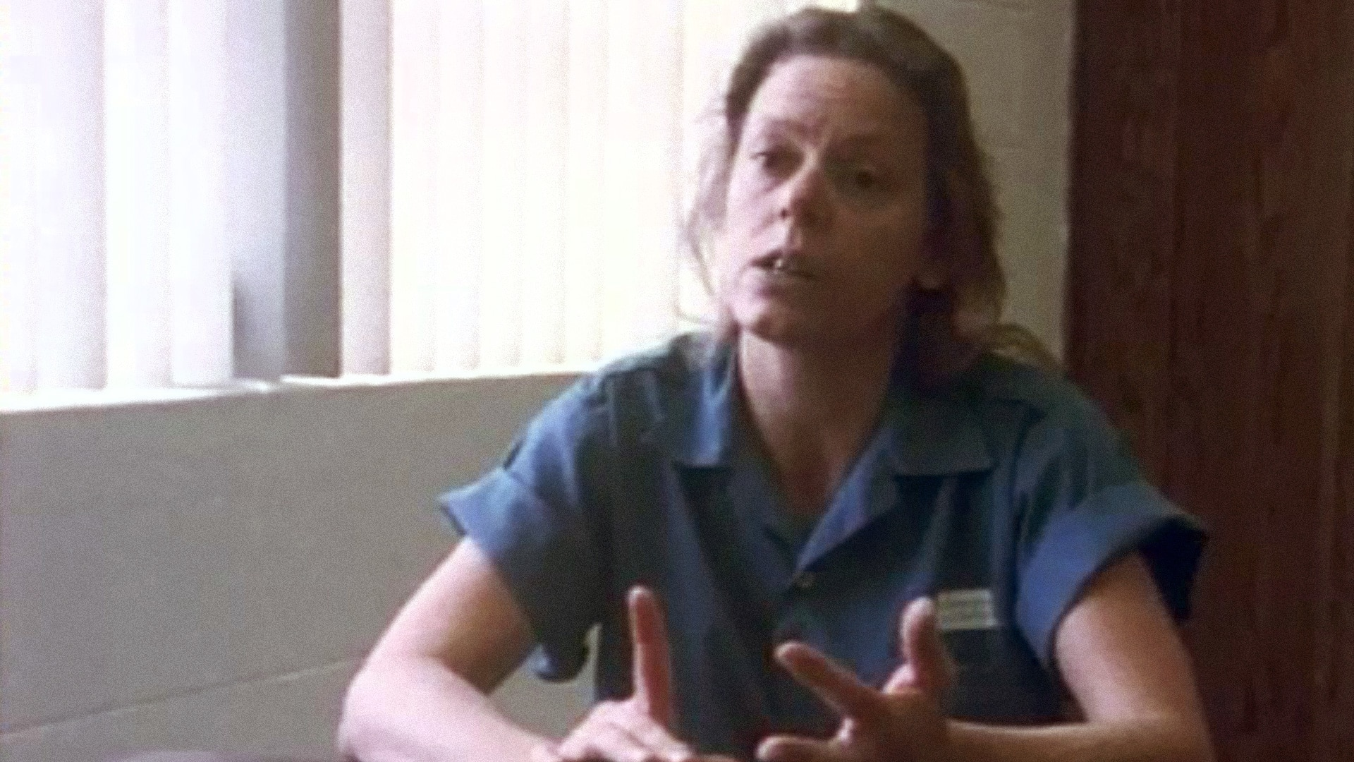 Aileen Wuornos in her prison outfit