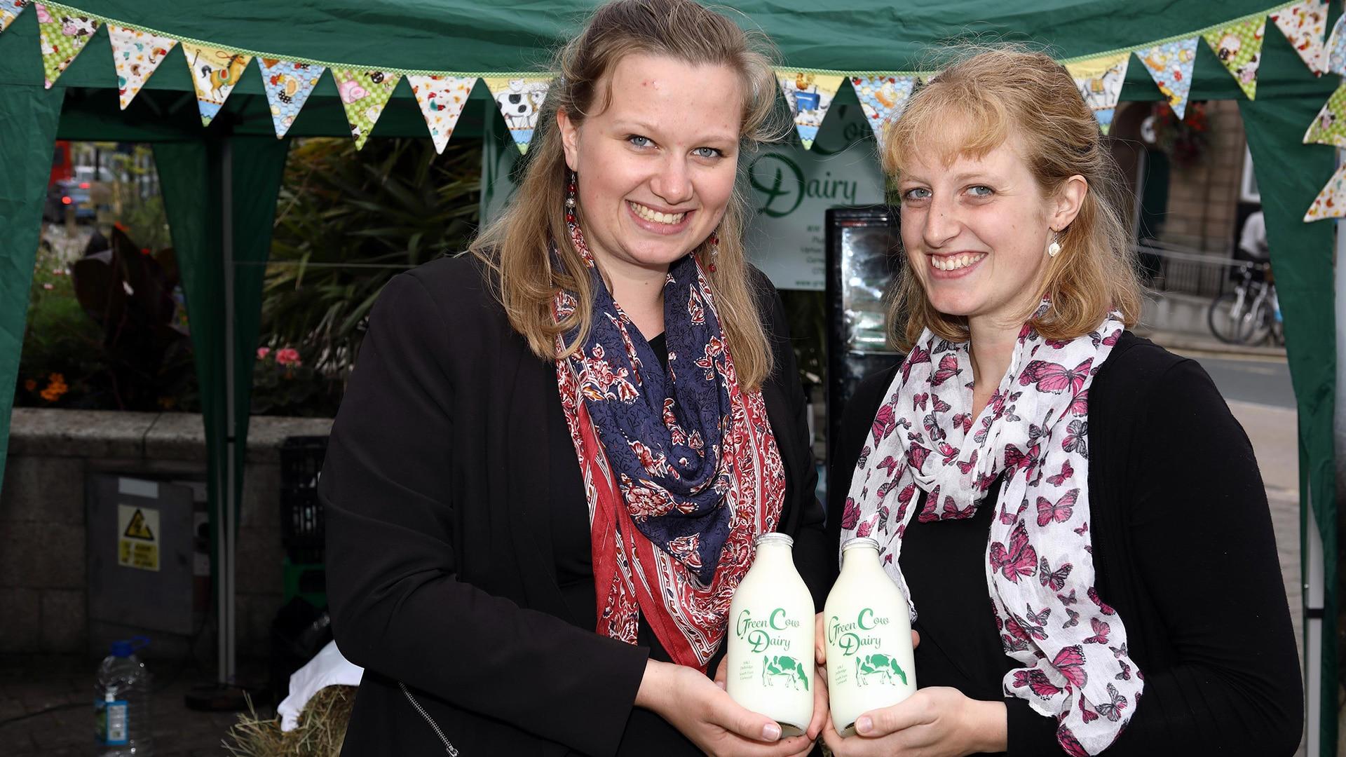 Isobelle and her sister at the lively Ploughmans Festival in Liskeard