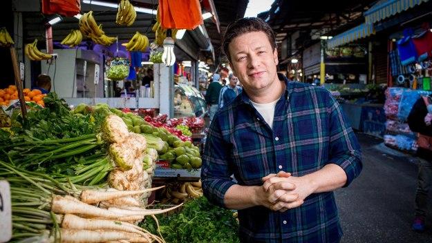 Jamie's Meat-free Meals - Asparagus, Sweet Leek Carbonara, Roasted Cauliflower