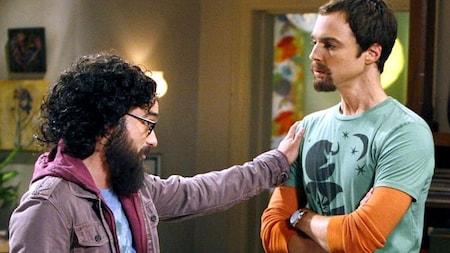 A bearded Leonard and Sheldon