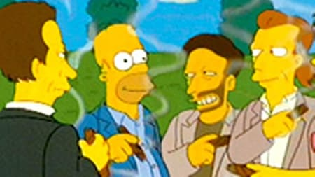 Homer as 'Max Power' enjoying a cigar with new friends