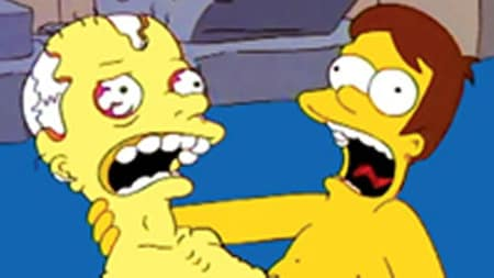Young Homer clutching a corpse and screaming