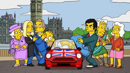 Homer in a Mini surrounded by British figures